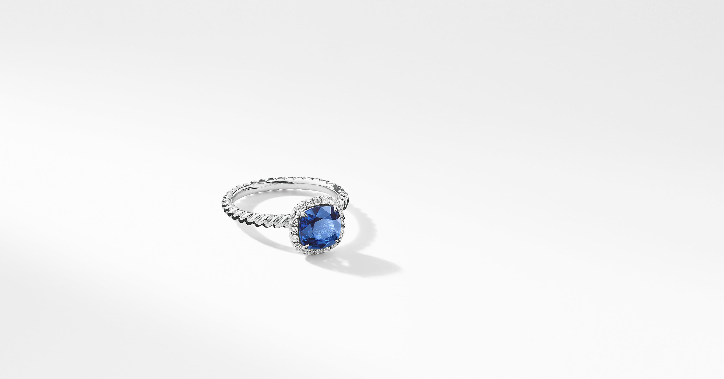 DY Capri Engagement Ring in Platinum with Blue Sapphire, Cushion