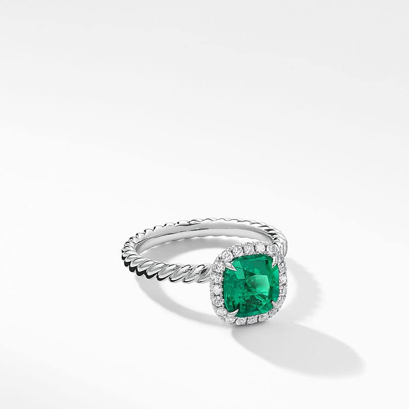 DY Capri Engagement Ring with Green Emerald, Cushion