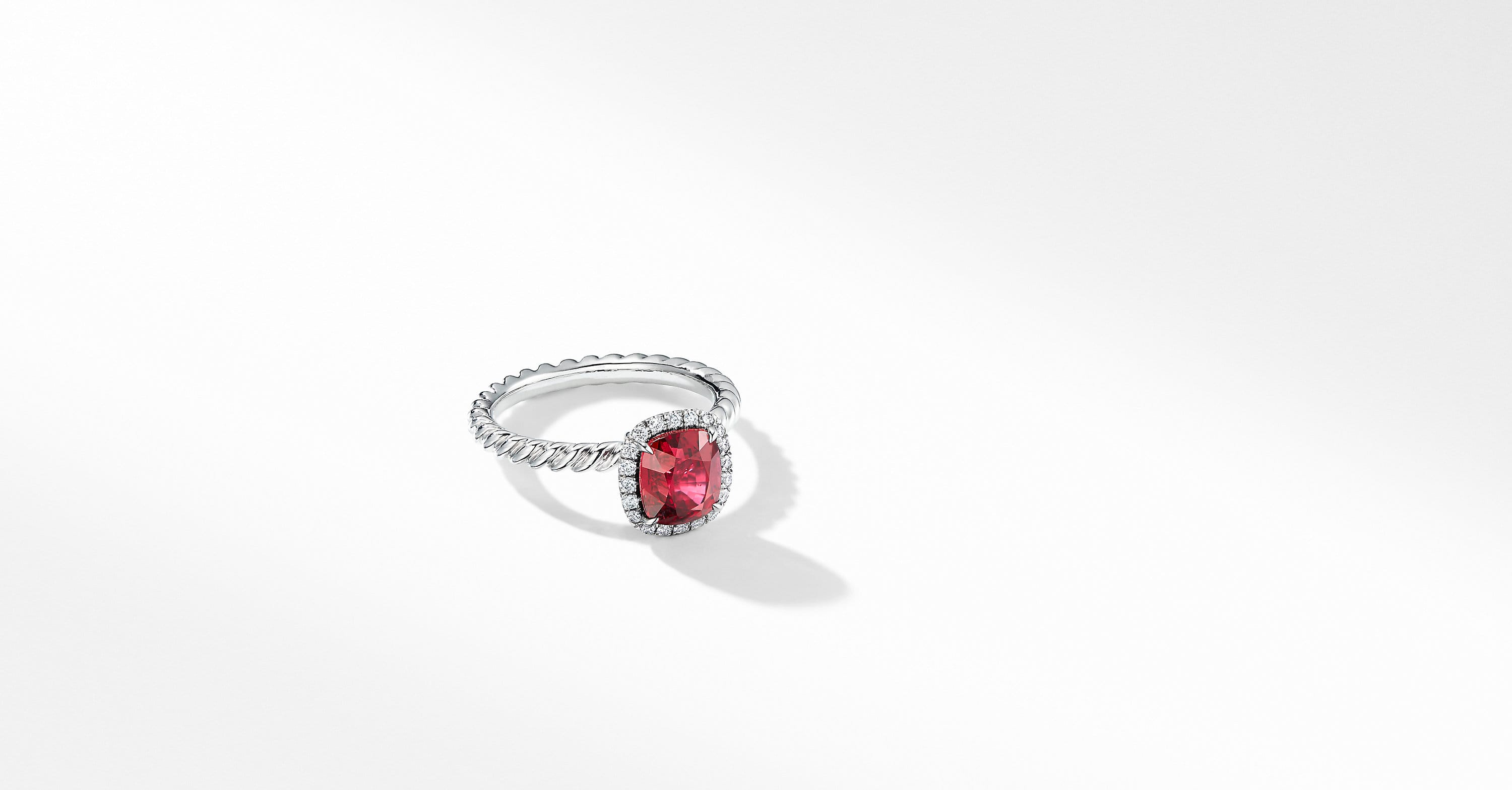 DY Capri Engagement Ring in Platinum with Ruby, Cushion