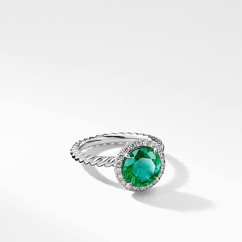 DY Capri Engagement Ring with Green Emerald, Round
