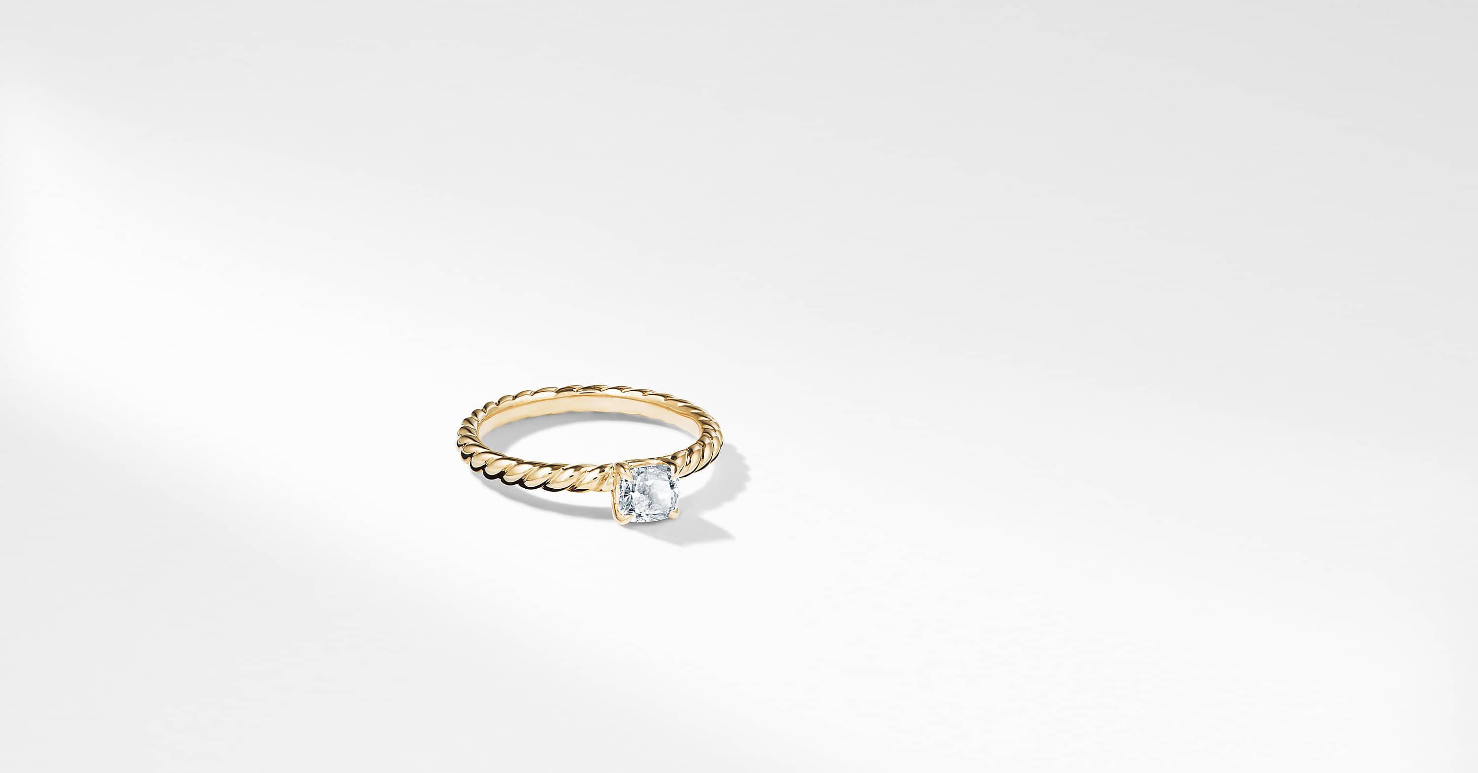 DY Unity Petite Cable Engagement Ring in 18K Yellow Gold, Cushion
