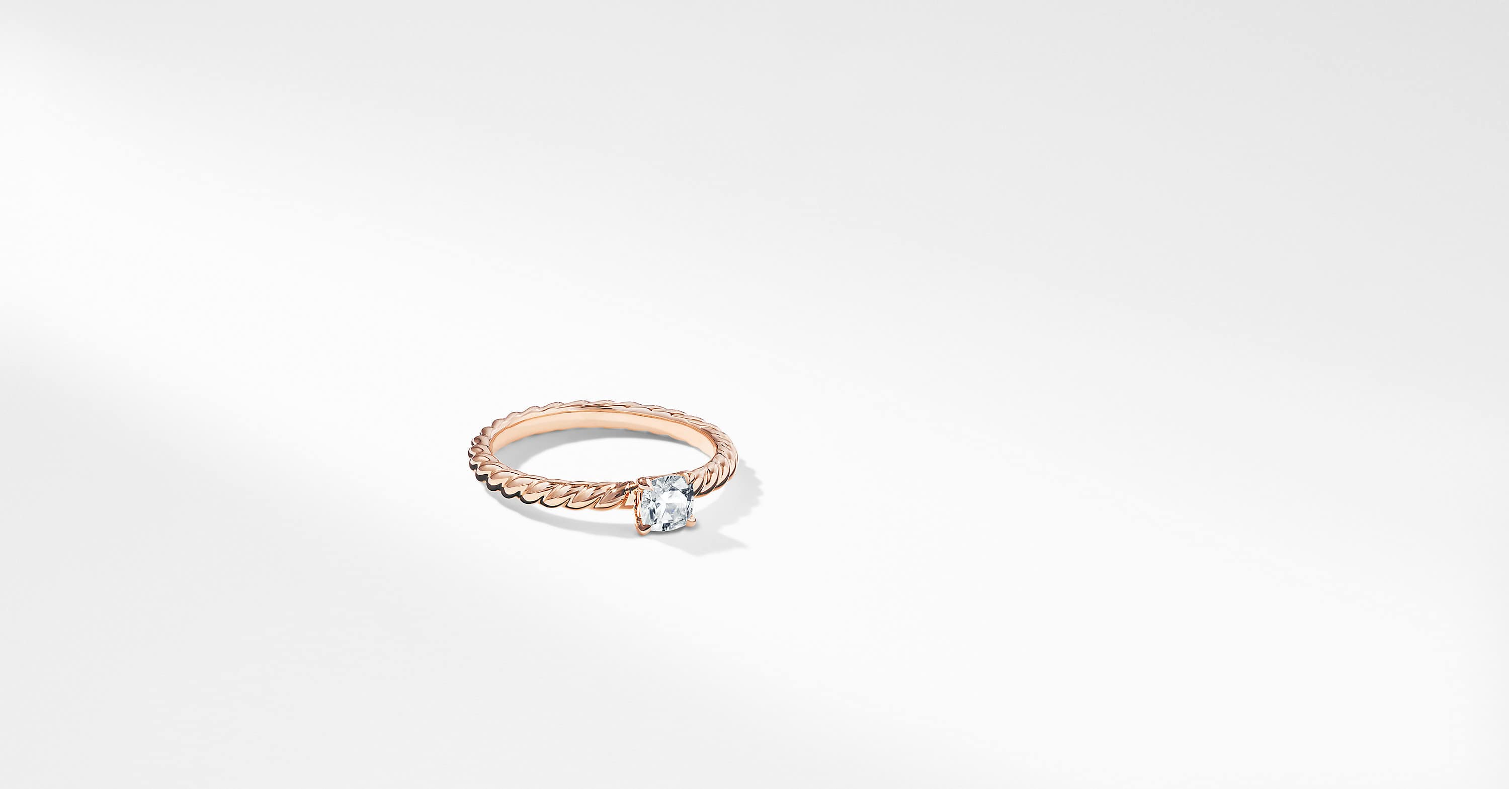 DY Unity Petite Cable Engagement Ring in 18K Rose Gold, Cushion