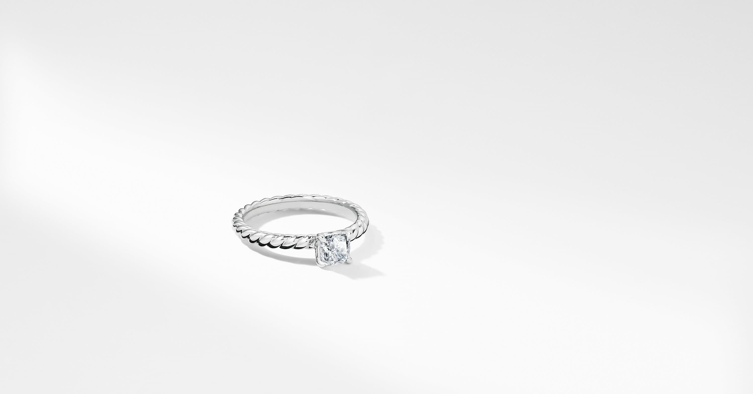 DY Unity Petite Cable Engagement Ring in Platinum, Cushion