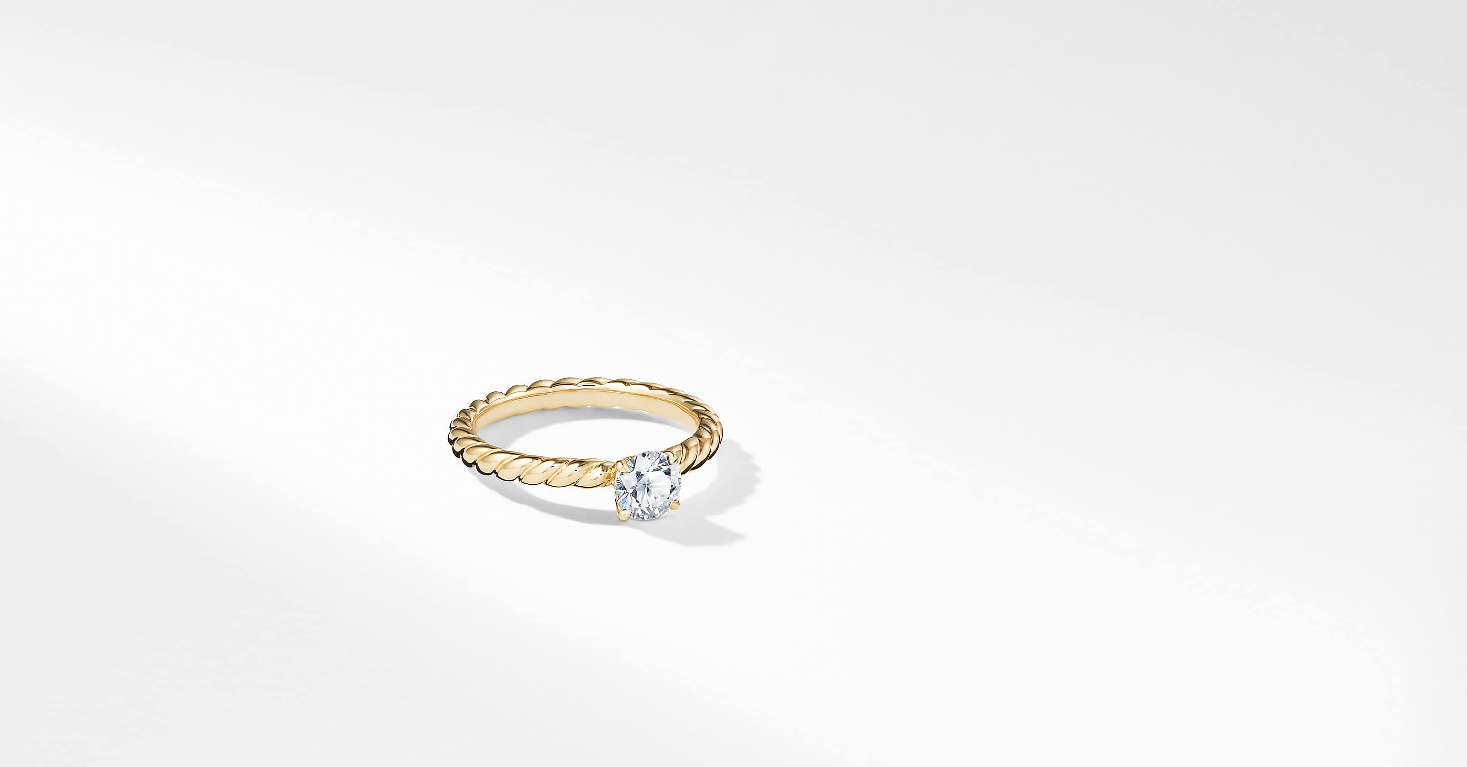DY Unity Petite Cable Engagement Ring in 18K Gold, Round