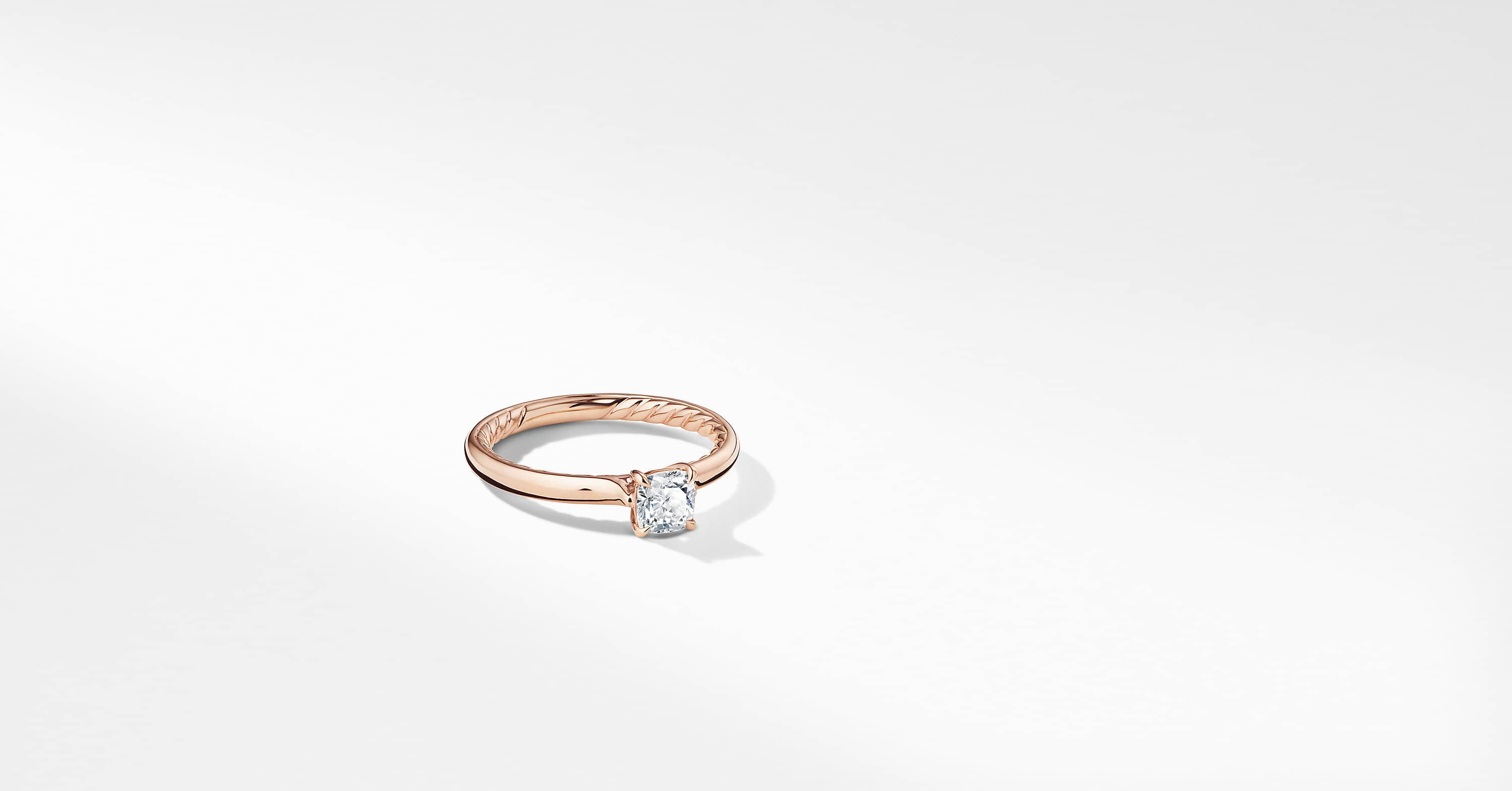 DY Eden Petite Engagement Ring in 18K Rose Gold, Cushion