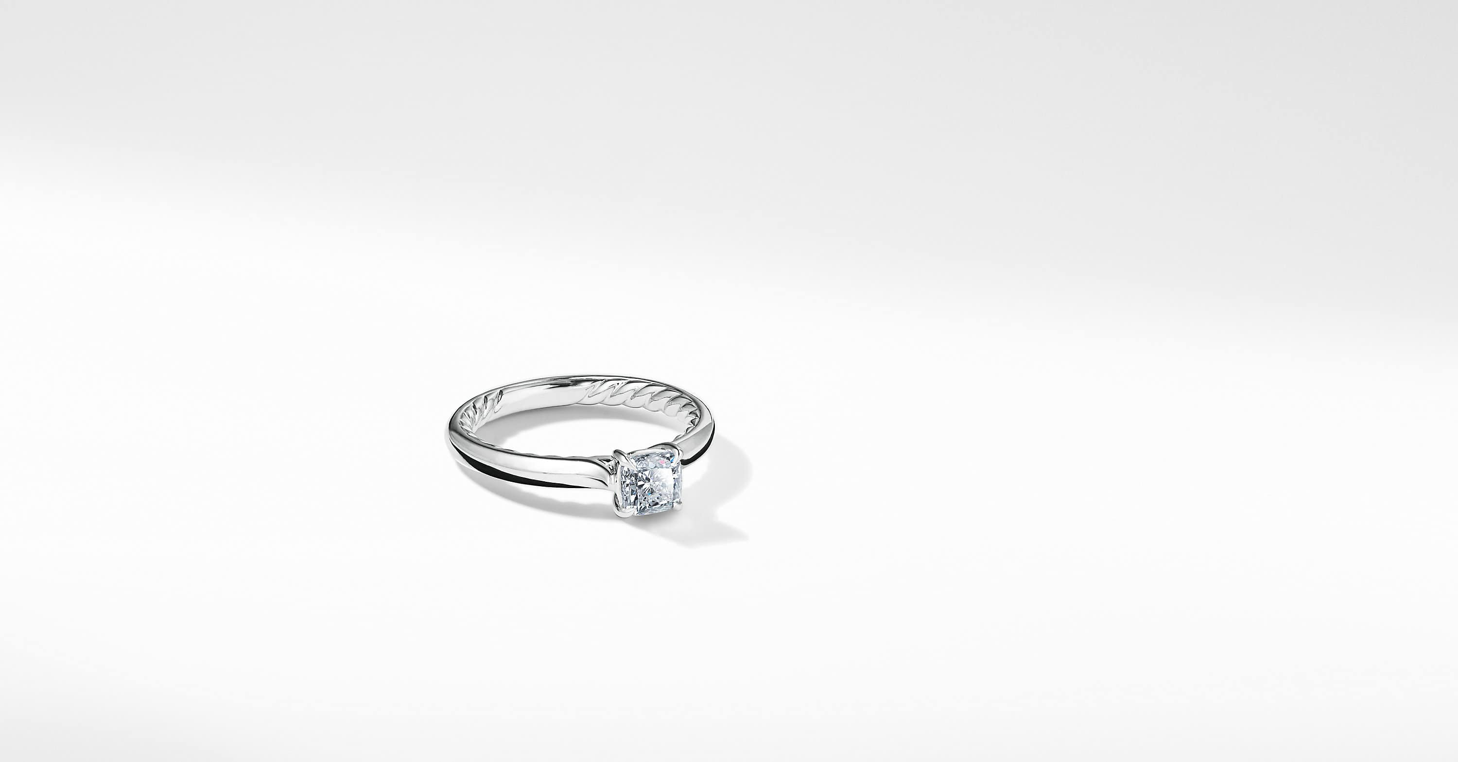 DY Eden Petite Engagement Ring in Platinum, Cushion