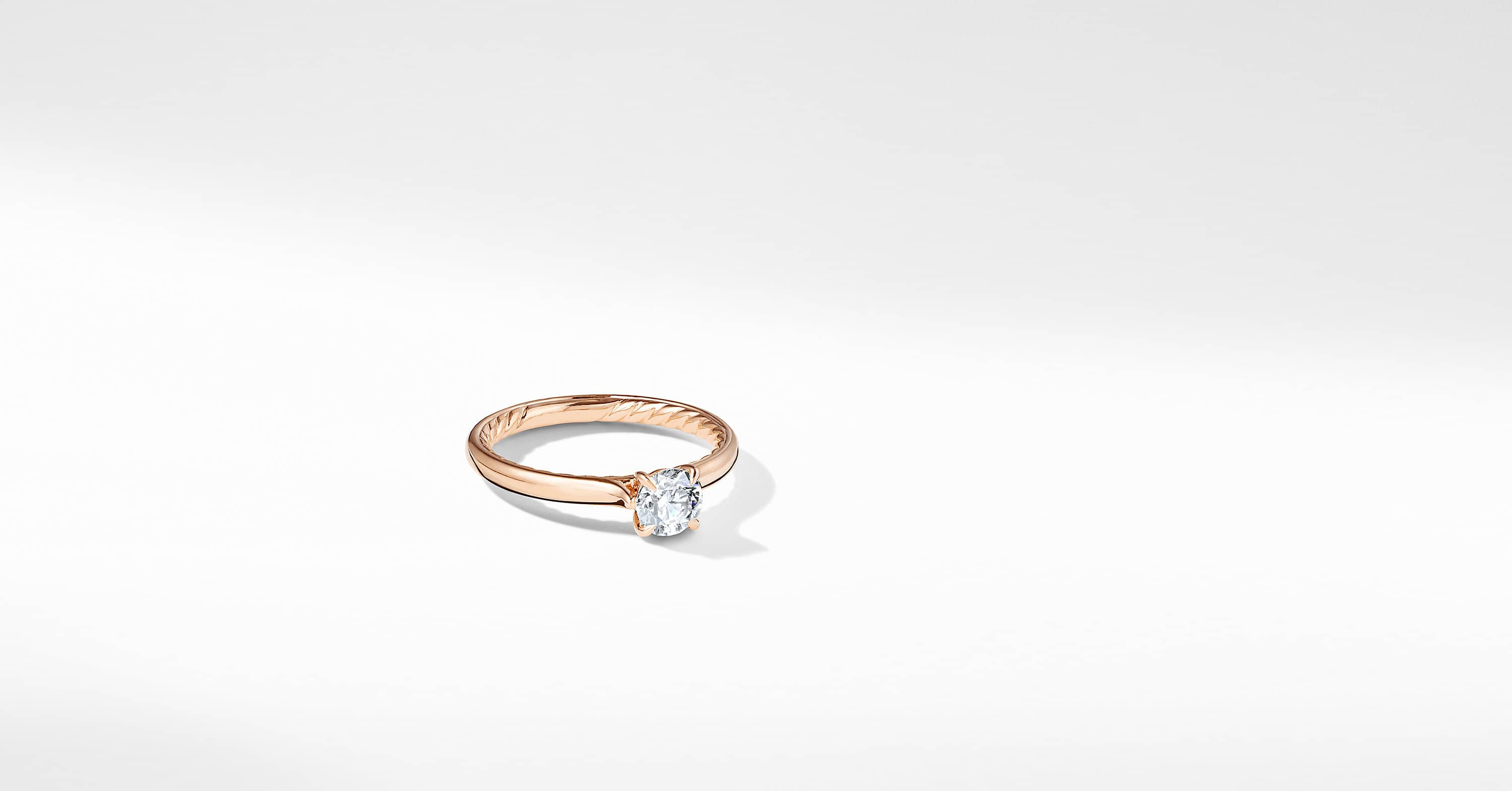 DY Eden Petite Solitaire Engagement Ring in 18K Rose Gold, Round