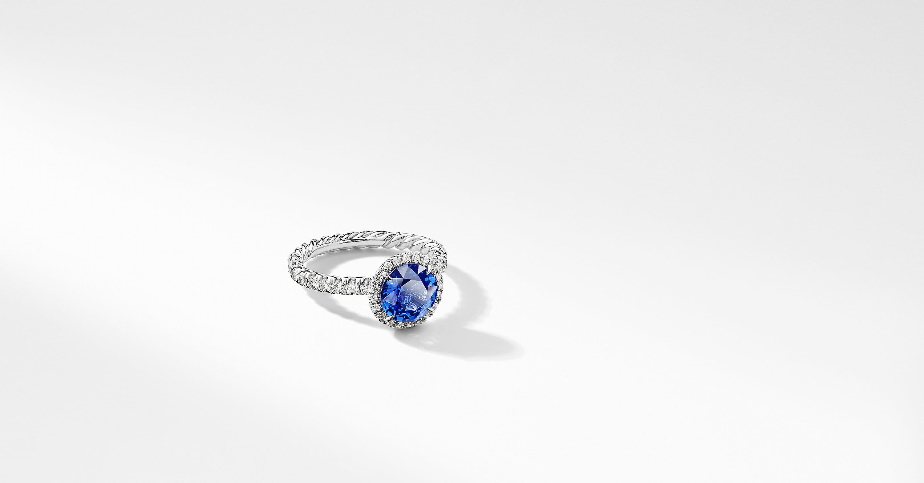 DY Capri Pavé Engagement Ring in Platinum with Blue Sapphire, Round