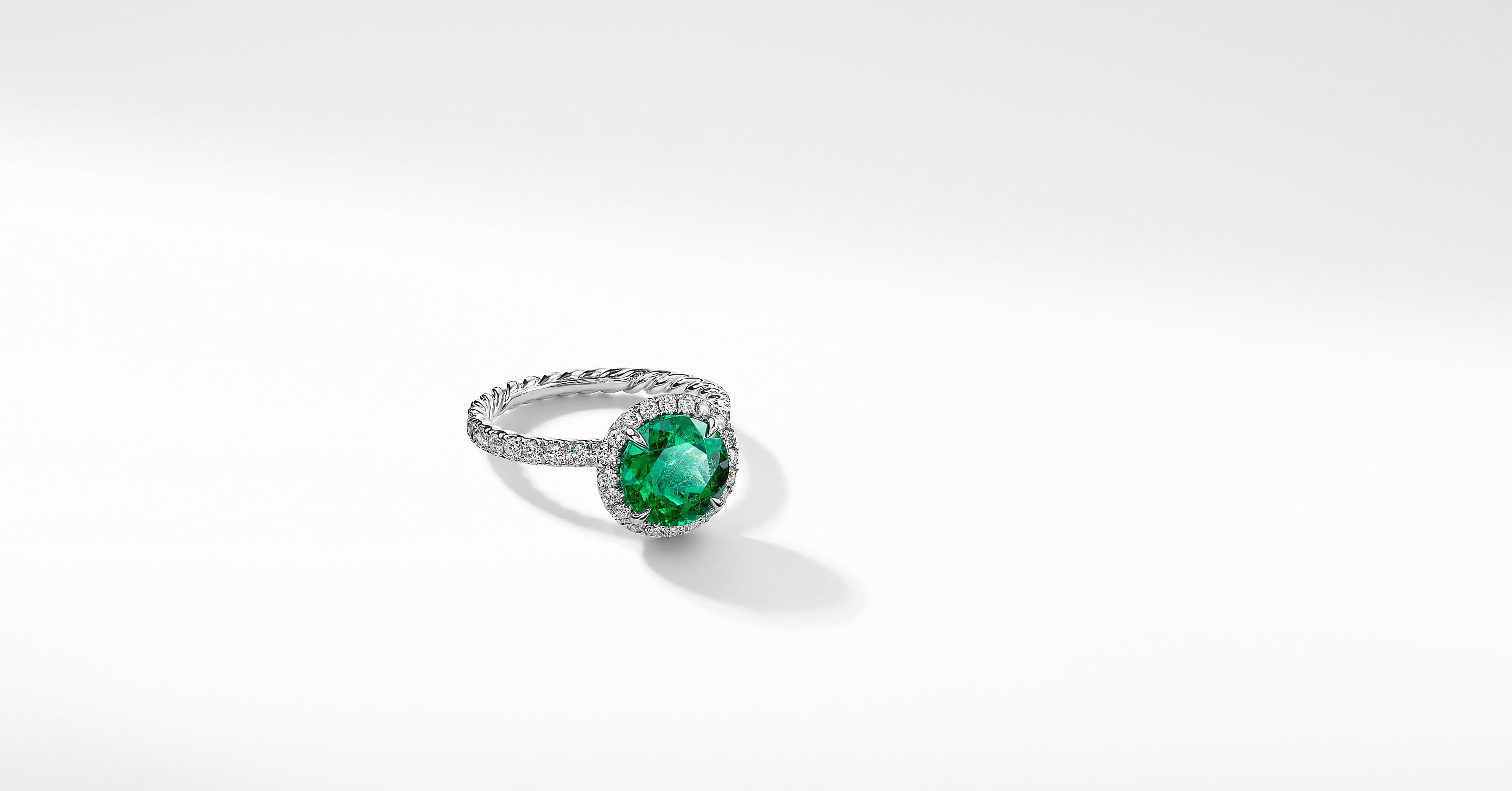 DY Capri Pavé Engagement Ring in Platinum with Green Emerald, Round