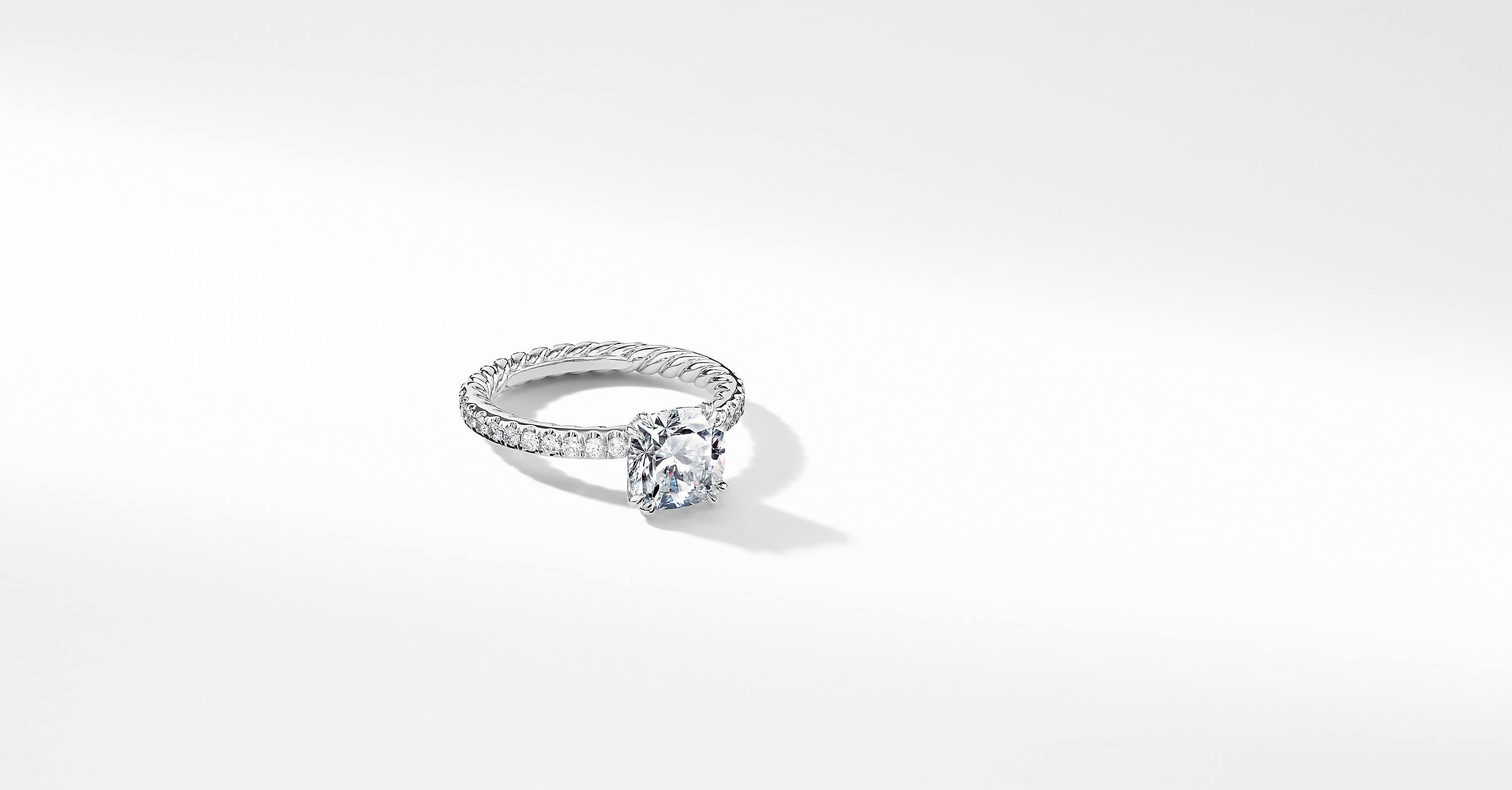 DY Eden Pavé Engagement Ring in Platinum, Cushion