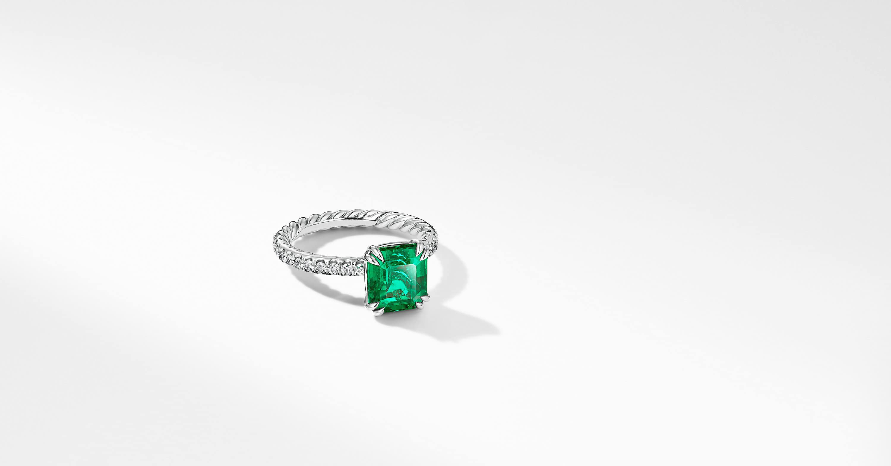 DY Eden Pave Engagement Ring with Green Emerald in Platinum, Emerald
