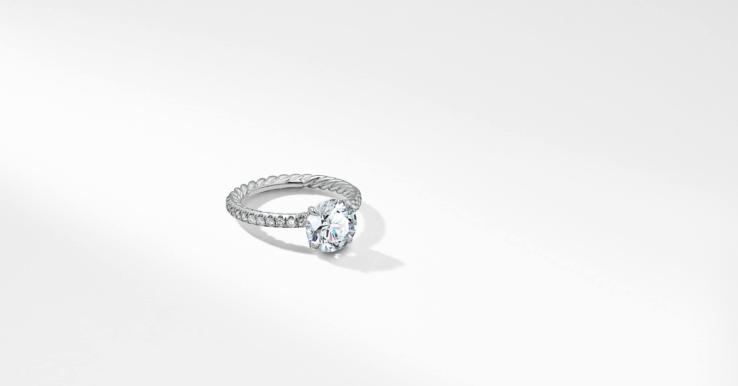 DY Eden Pave Engagement Ring in Platinum, Round