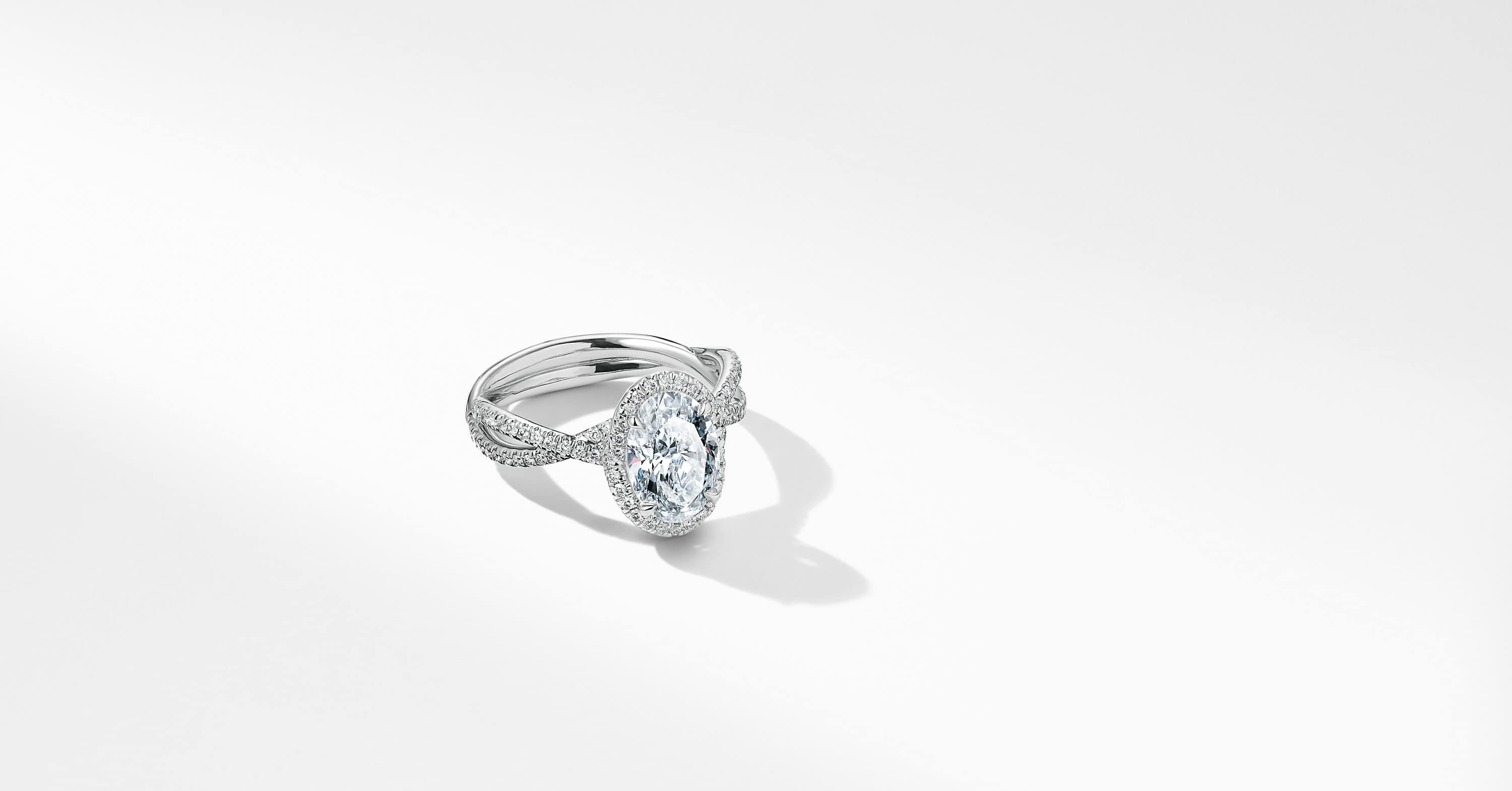 DY Lanai Full Pave Engagement Ring with Diamonds in Platinum, Oval