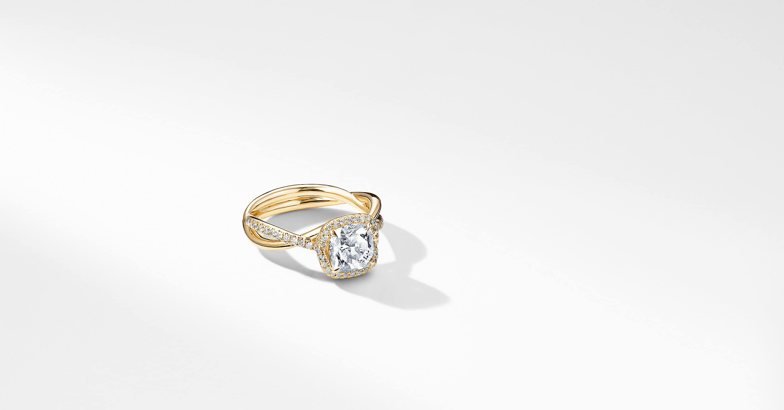 DY Lanai Part Pavé Engagement Ring in 18K Yellow Gold, Cushion