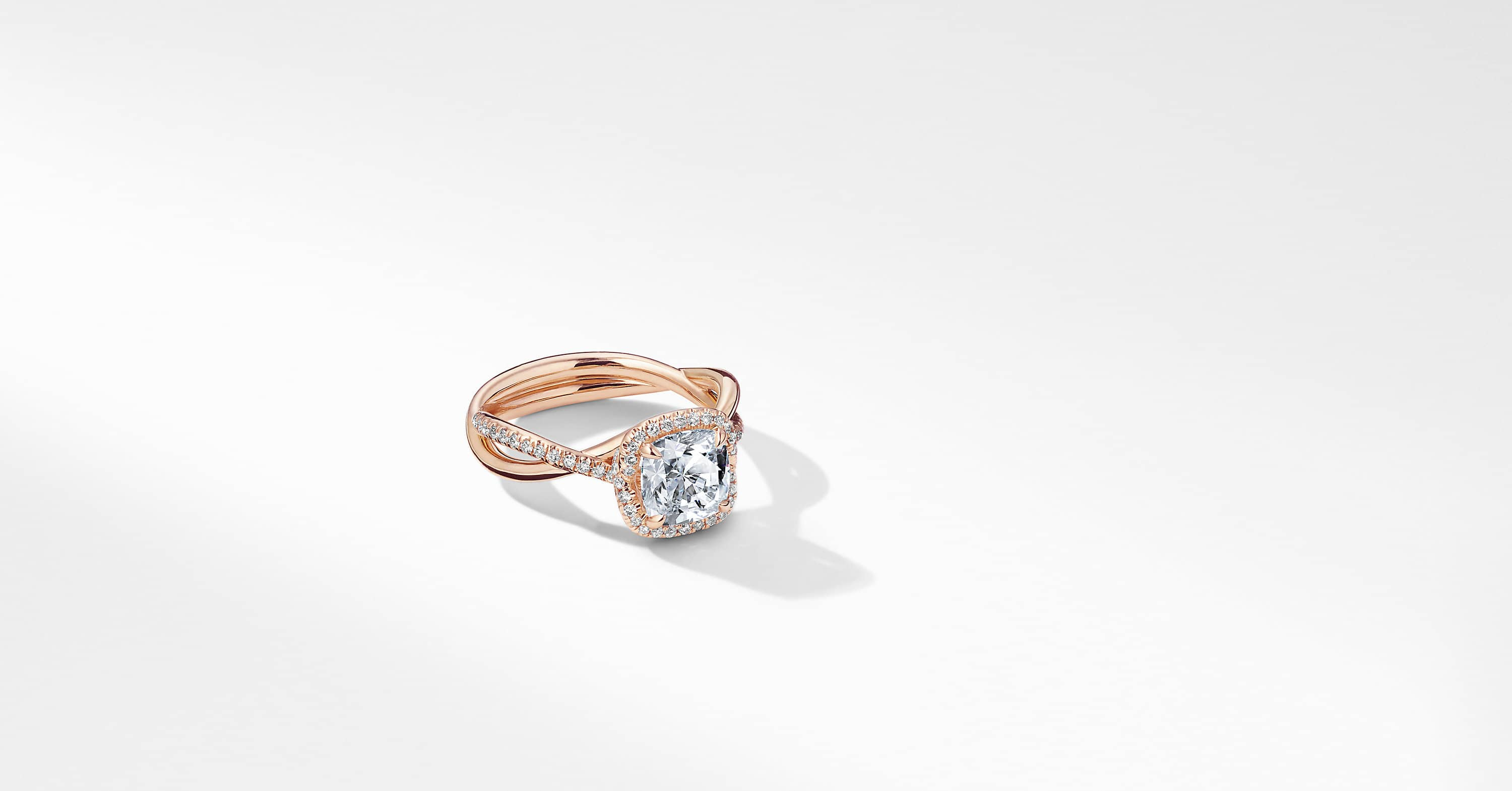 DY Lanai Part Pavé Engagement Ring in 18K Rose Gold, Cushion