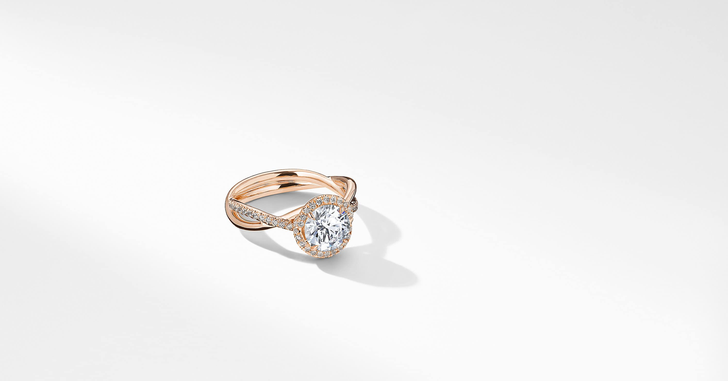 DY Lanai Part Pavé Engagement Ring in 18K Rose Gold, Round