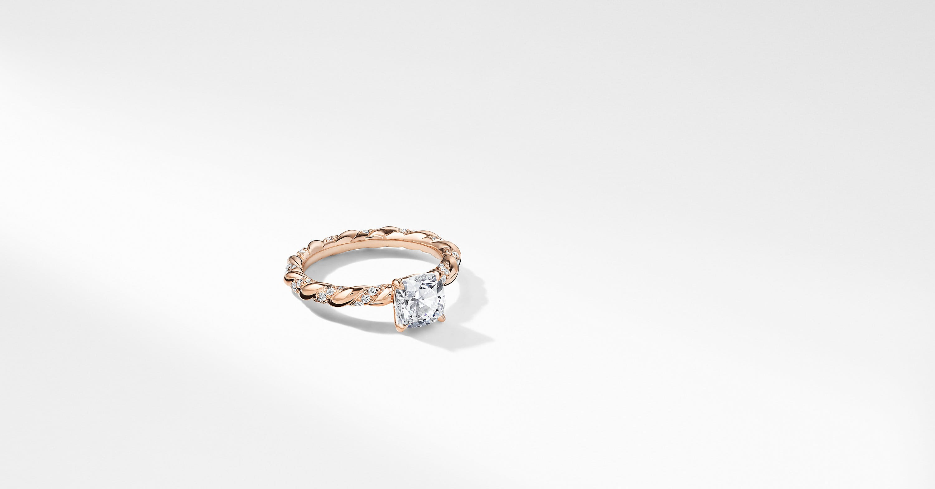 DY Unity Pavé Engagement Ring in 18K Rose Gold, Cushion