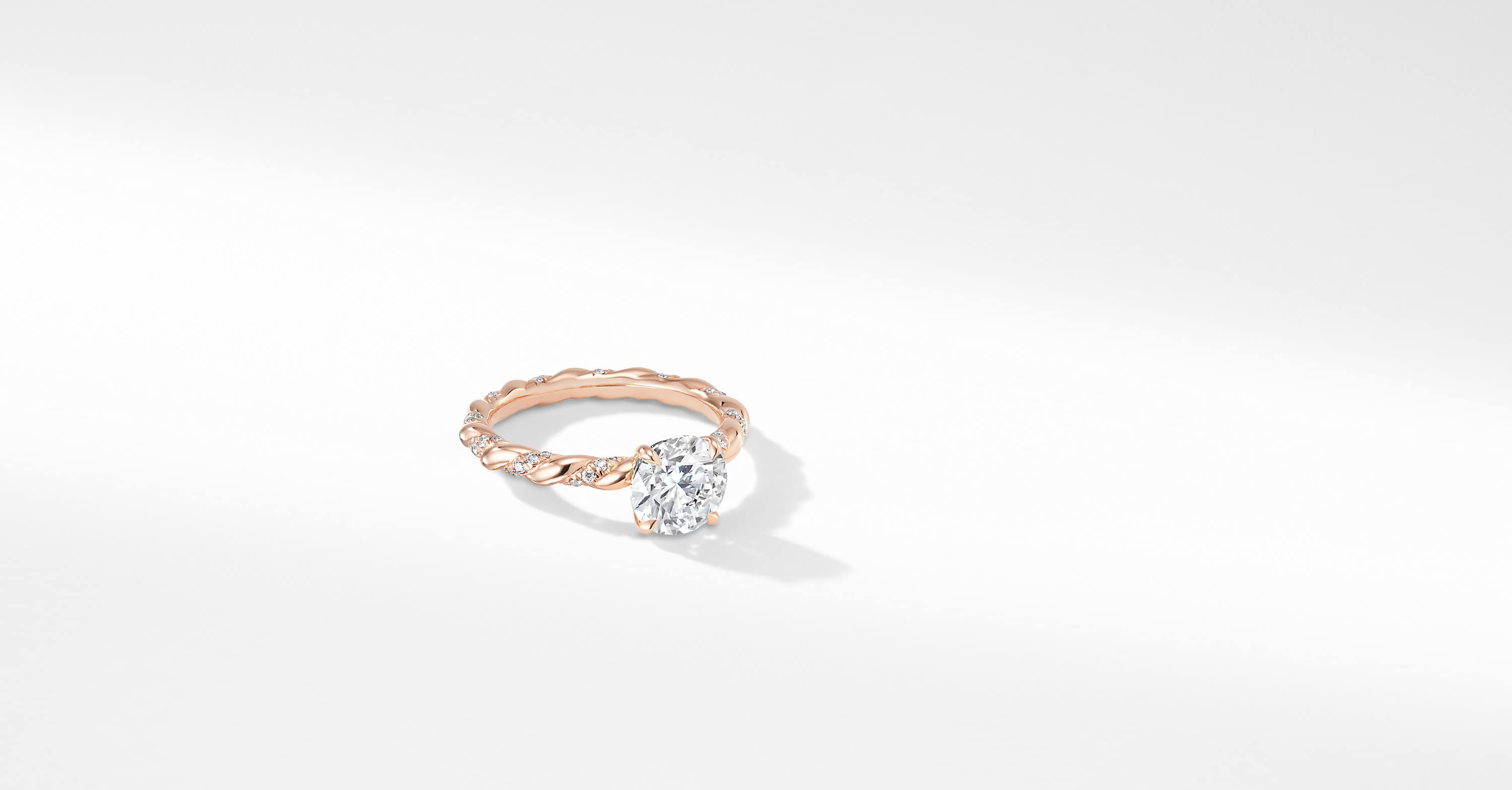 DY Unity Pavé Engagement Ring in 18K Rose Gold, Round