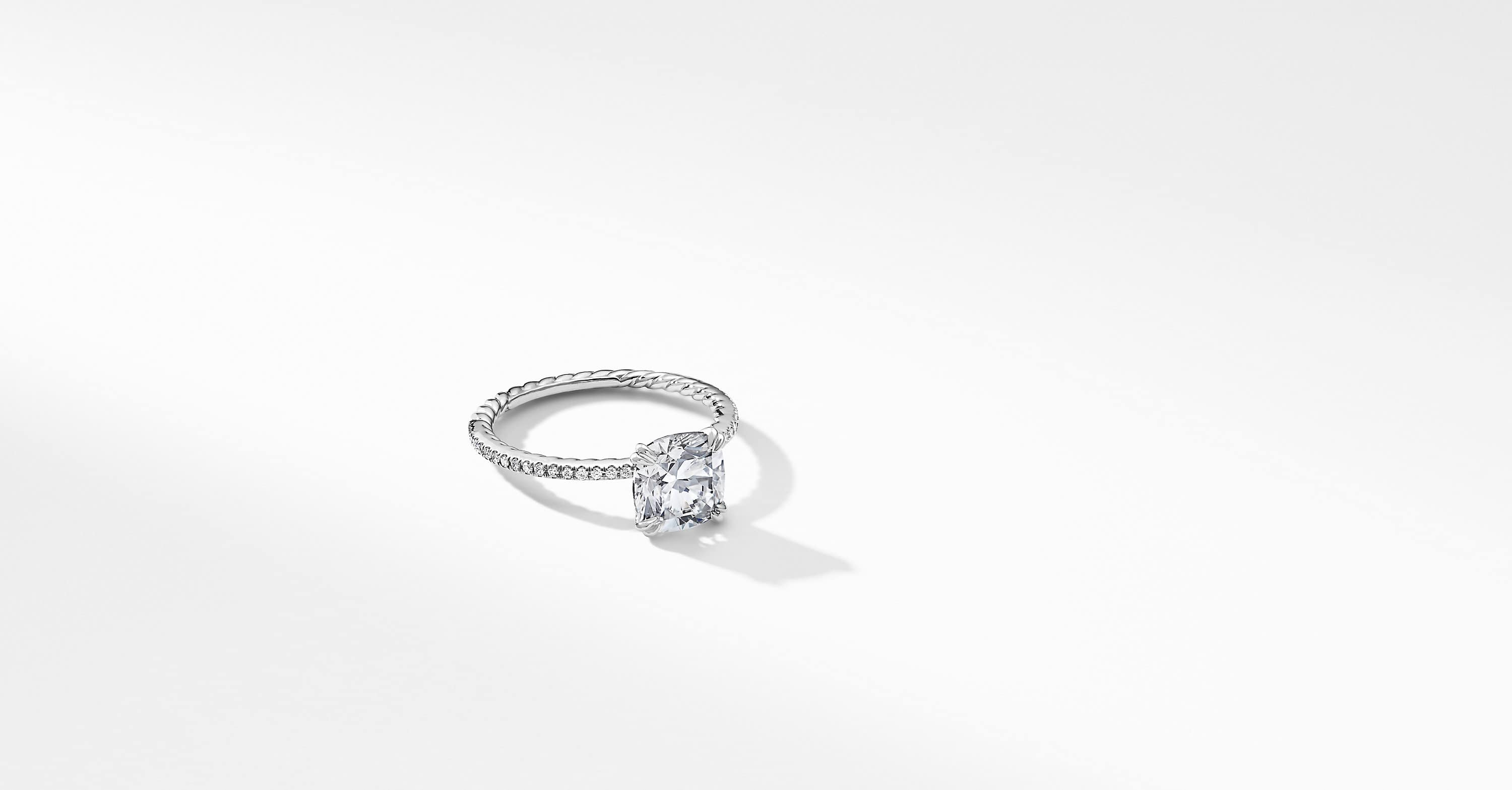 DY Eden Micro Pavé Engagement Ring in Platinum, Cushion
