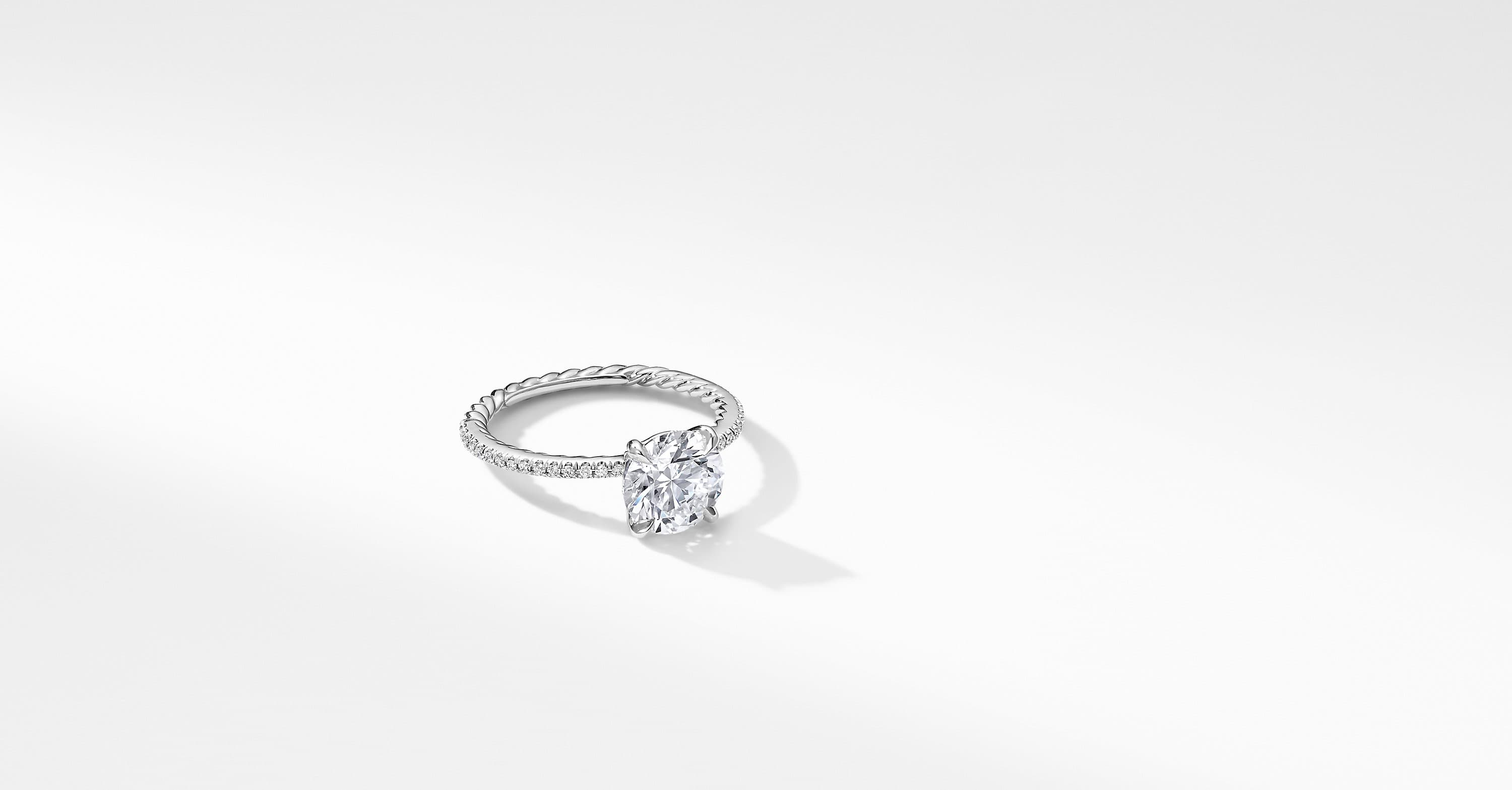 DY Eden Micro Pavé Engagement Ring in Platinum, Round