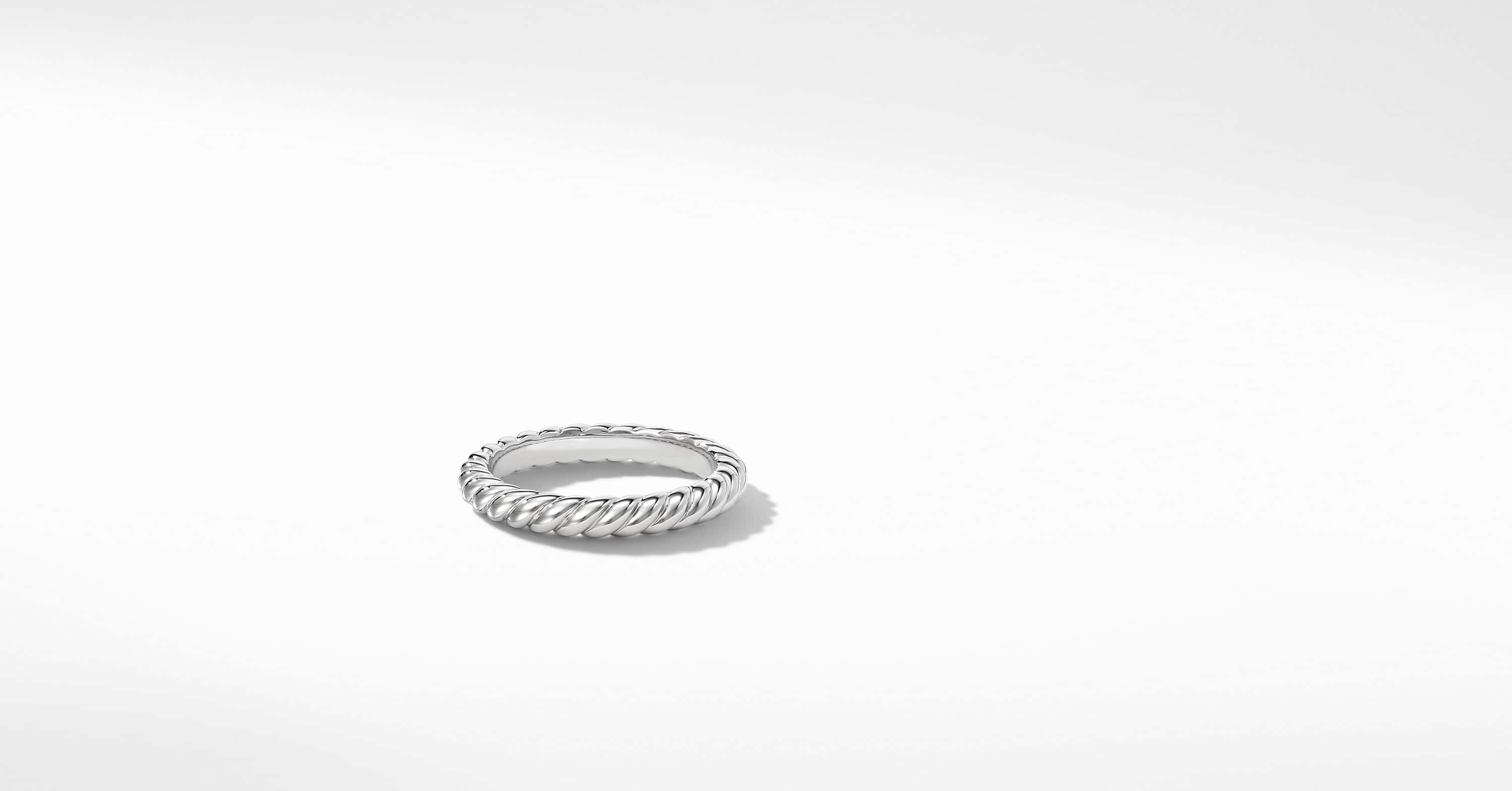 DY Unity Cable Wedding Band in Platinum, 3mm