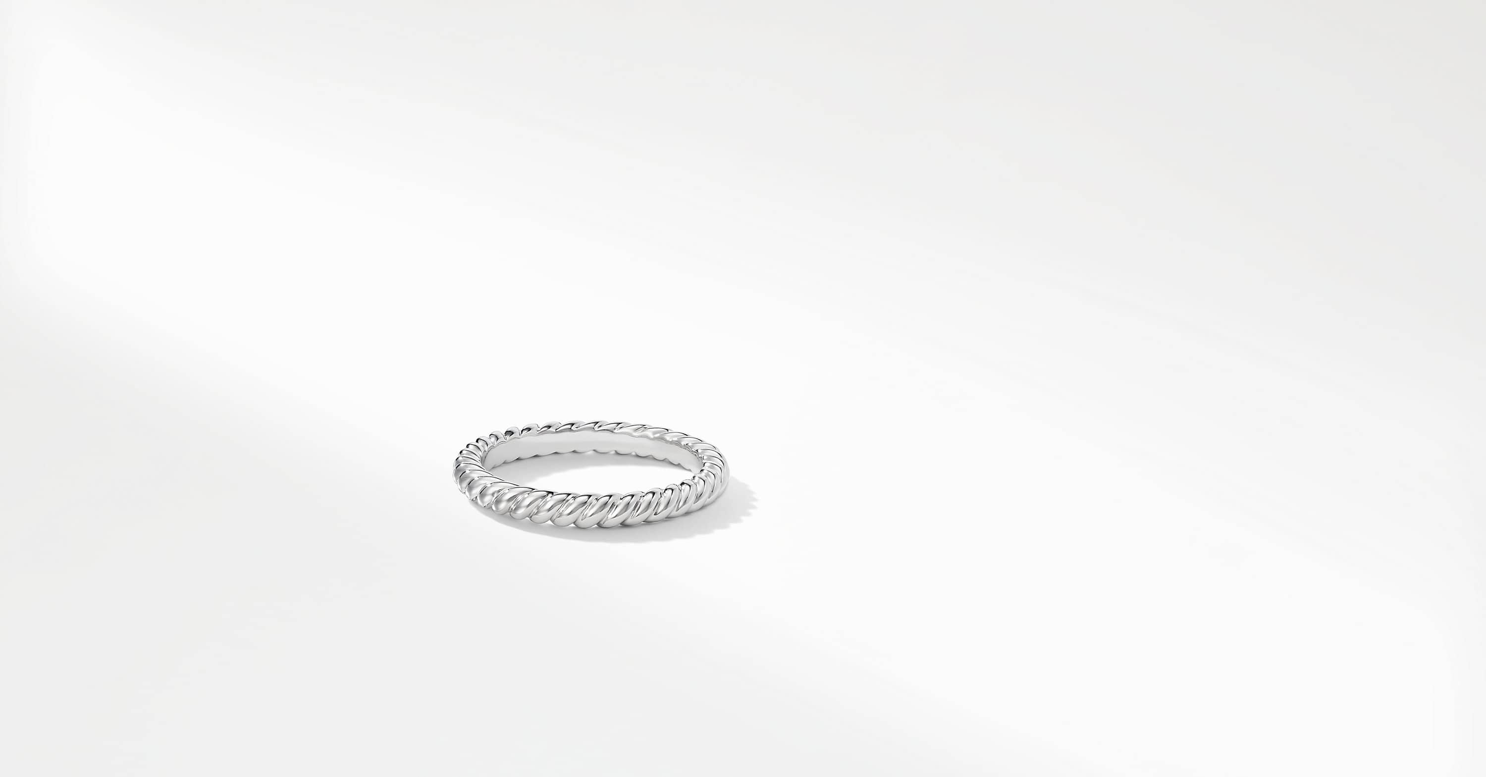 DY Unity Cable Wedding Band in Platinum, 2.45mm
