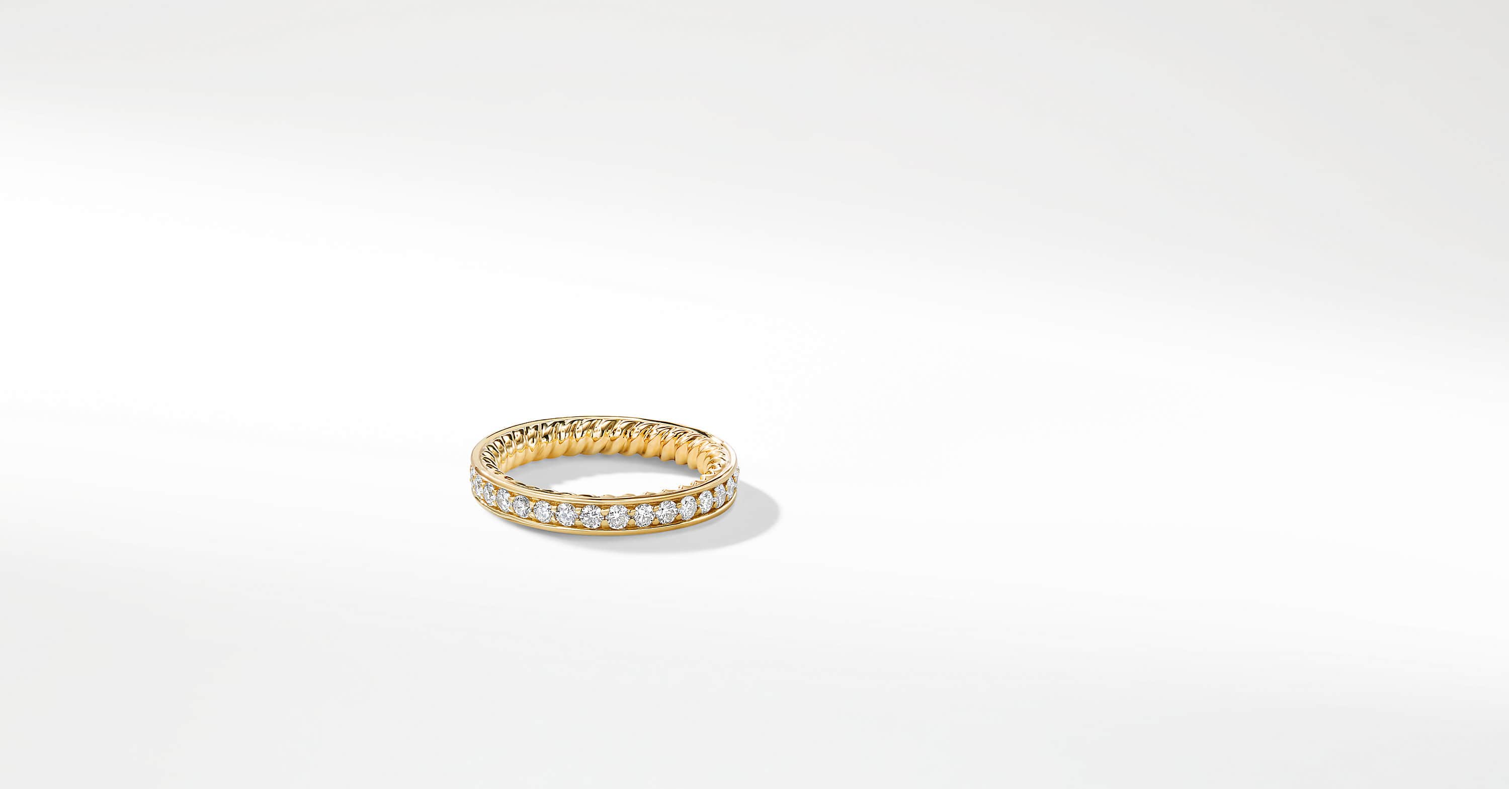 DY Eden Eternity Wedding Band with Diamonds in 18K Gold, 3mm
