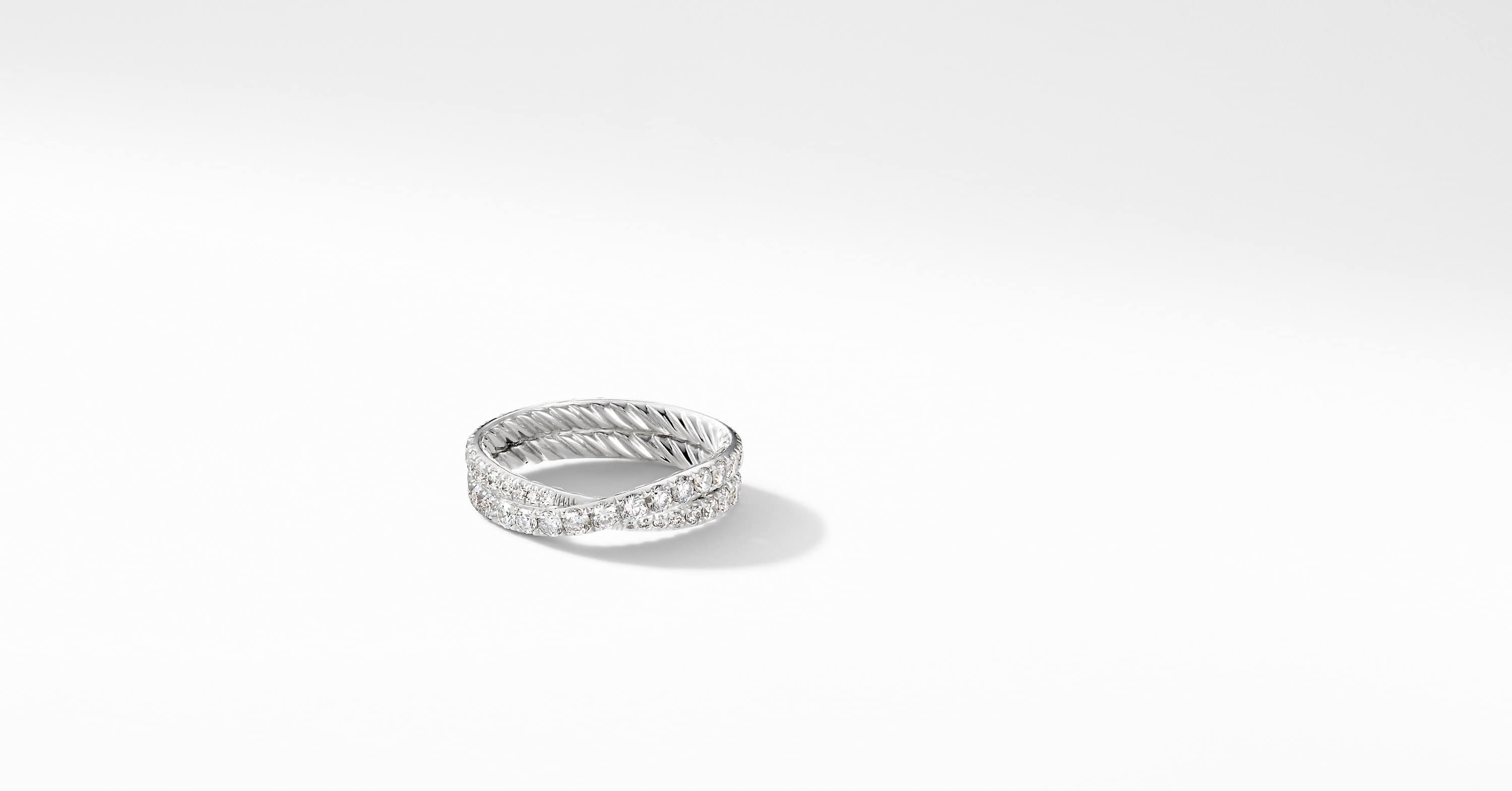 DY Crossover Wedding Band with Diamonds in Platinum, 5.2mm