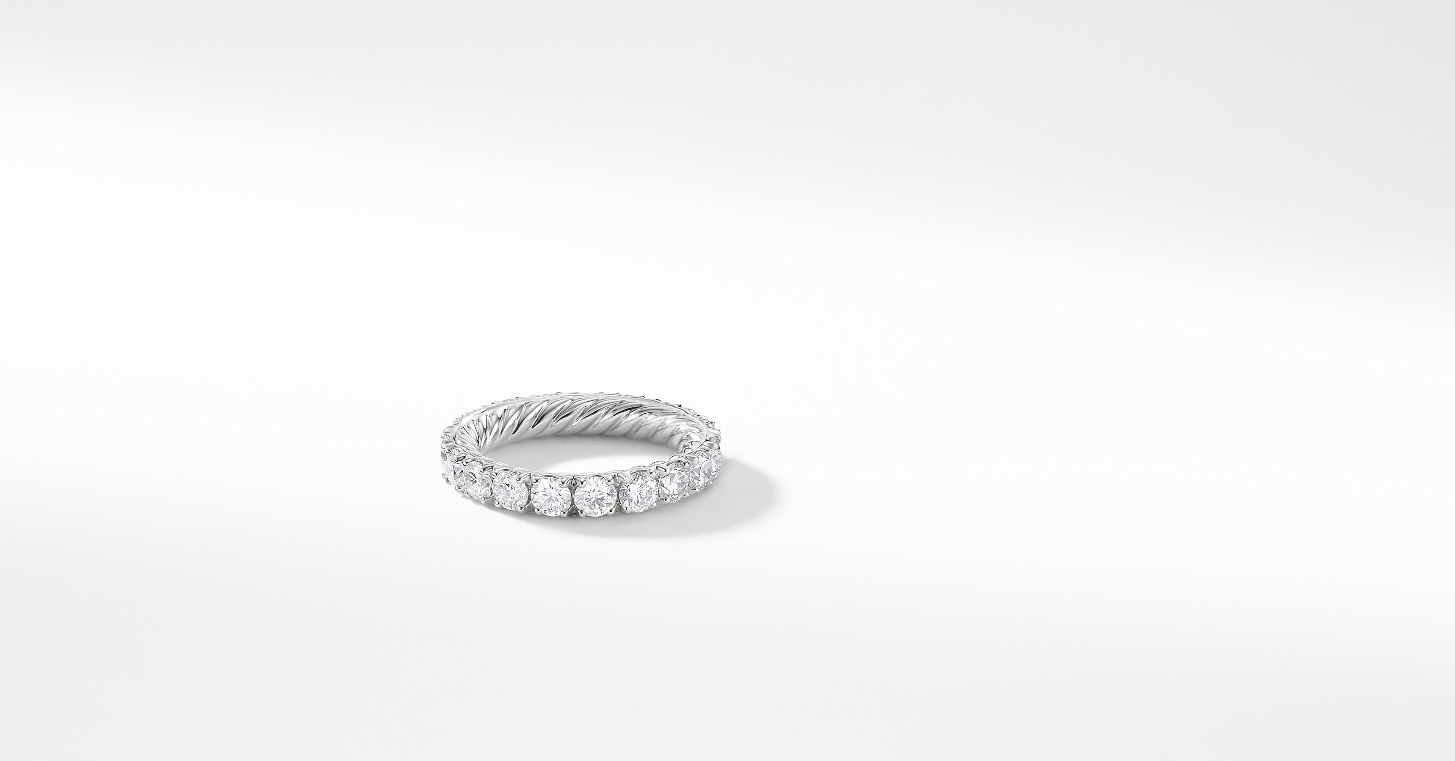 DY Eden Single Row Wedding Band with Diamonds in Platinum, 3.6mm