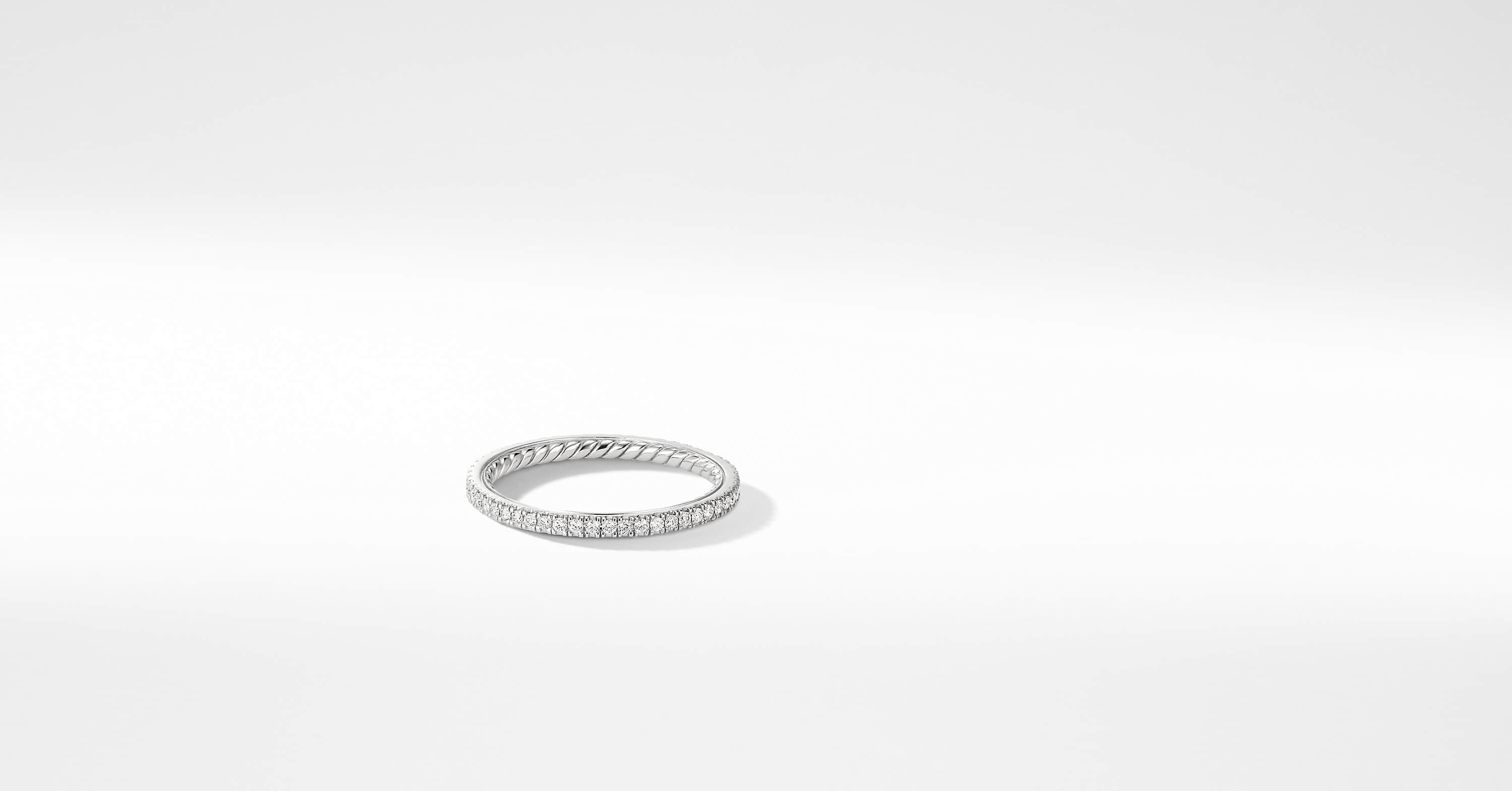 DY Eden Single Row Wedding Band with Diamonds in Platinum, 1.55mm