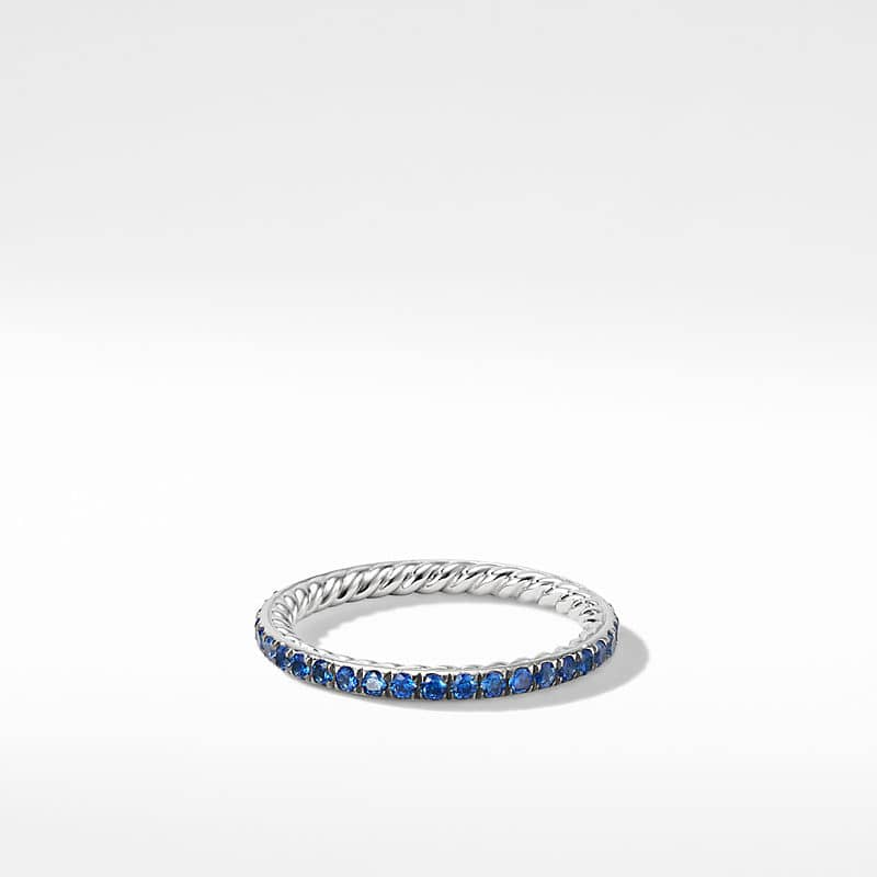 DY Eden Band Ring in Platinum with Blue