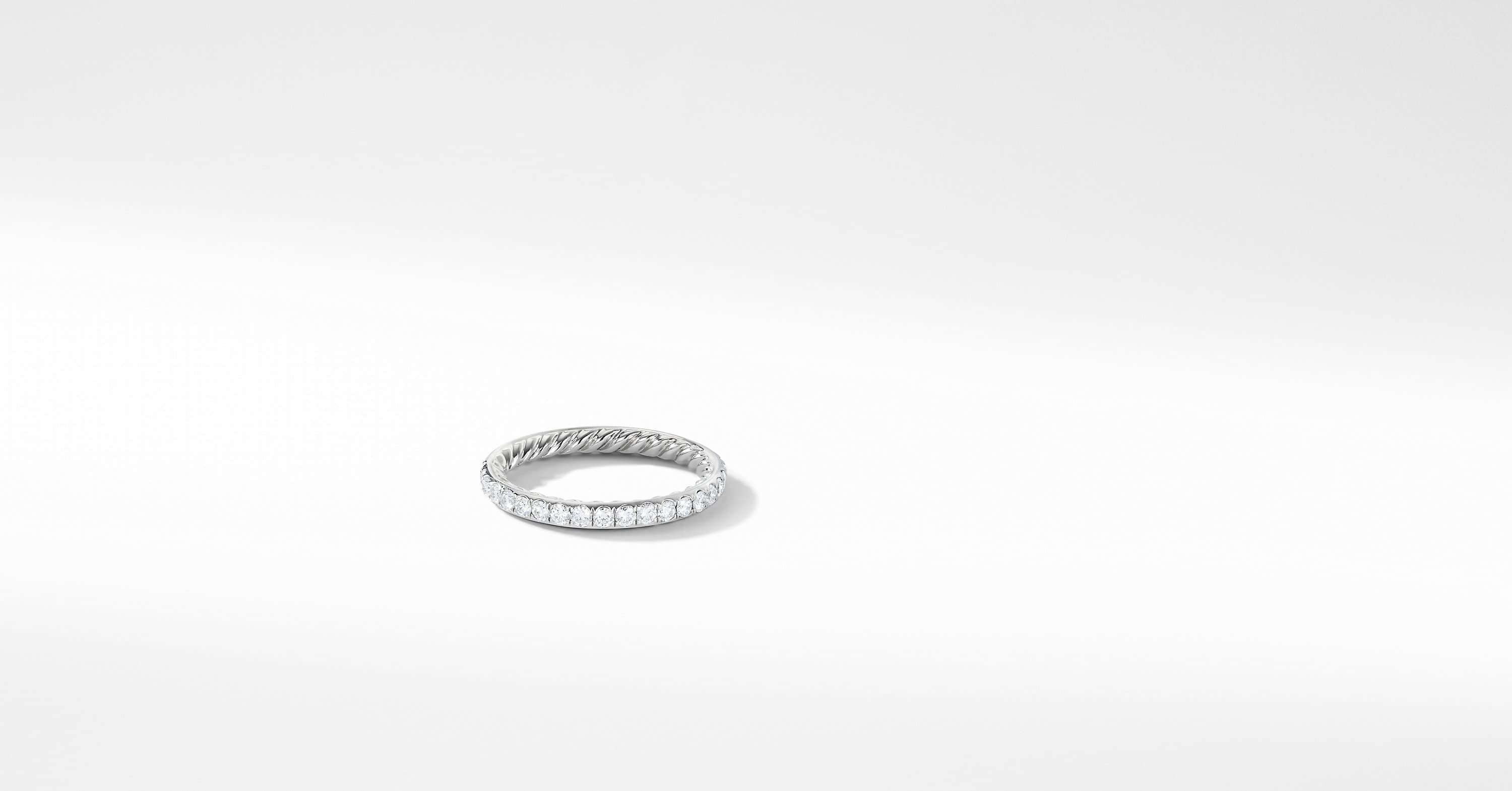 DY Eden Single Row Wedding Band with Diamonds in Platinum, 2mm