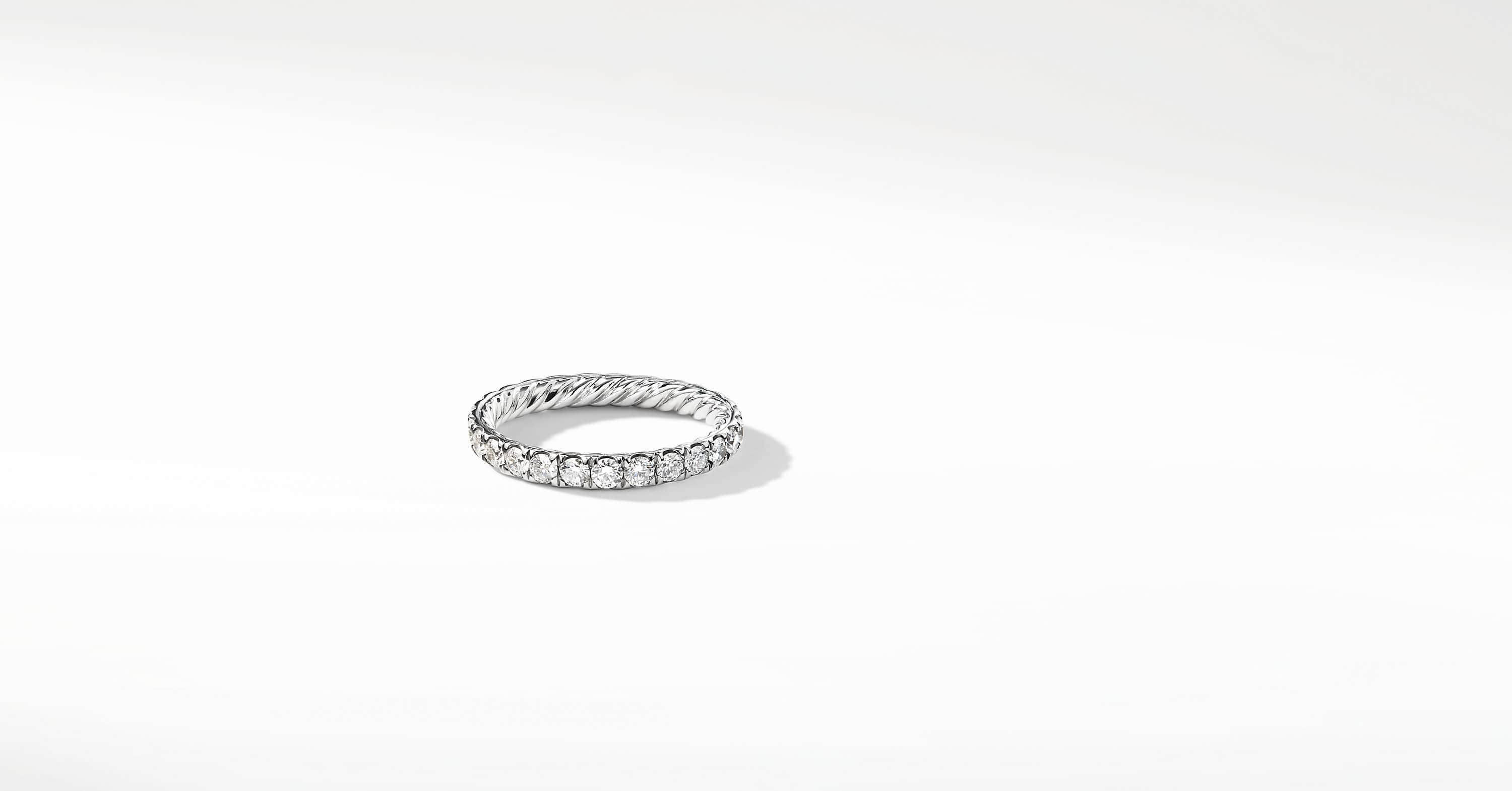 DY Eden Single Row Wedding Band with Diamonds in Platinum, 2.8mm
