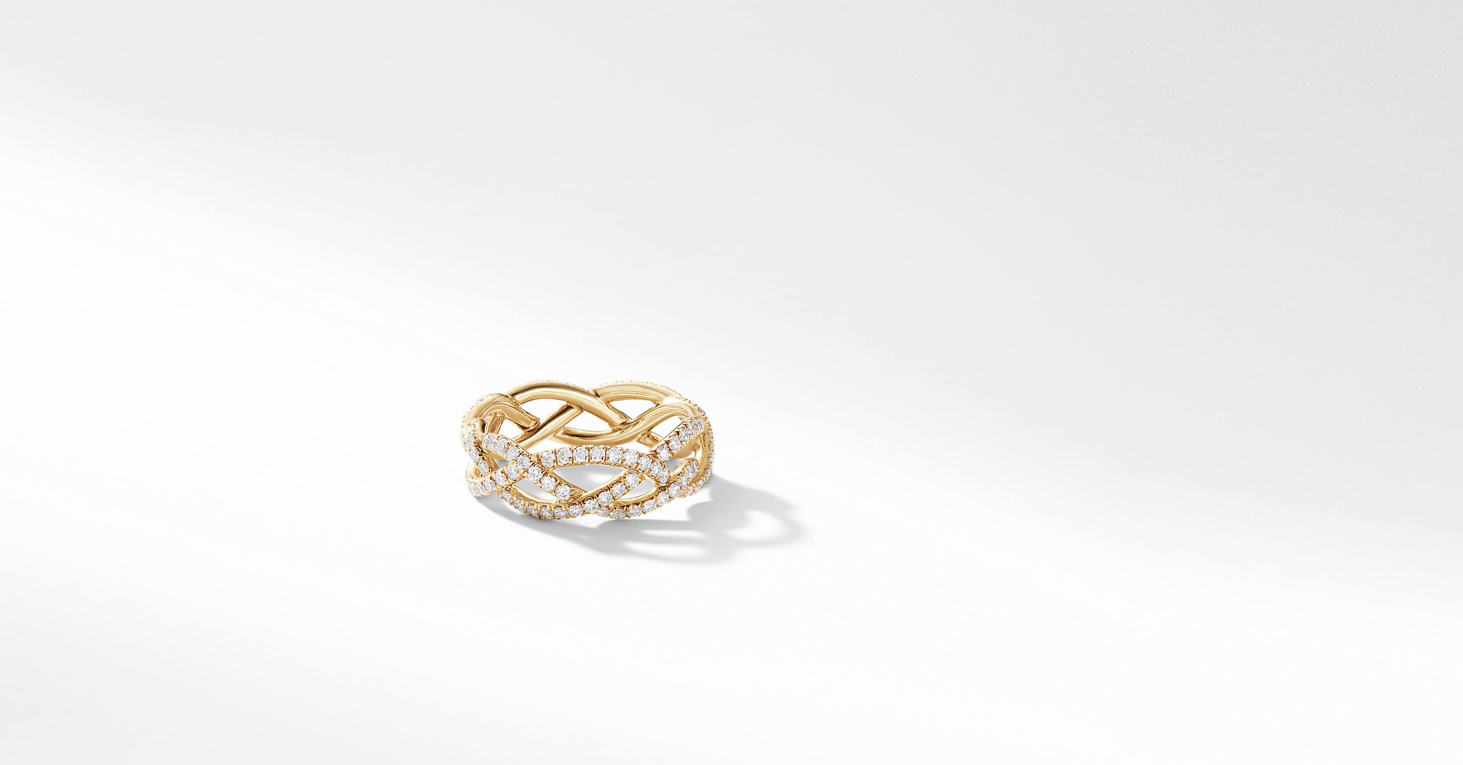 Wide Band Twist Ring in 18K Yellow Gold with Diamonds