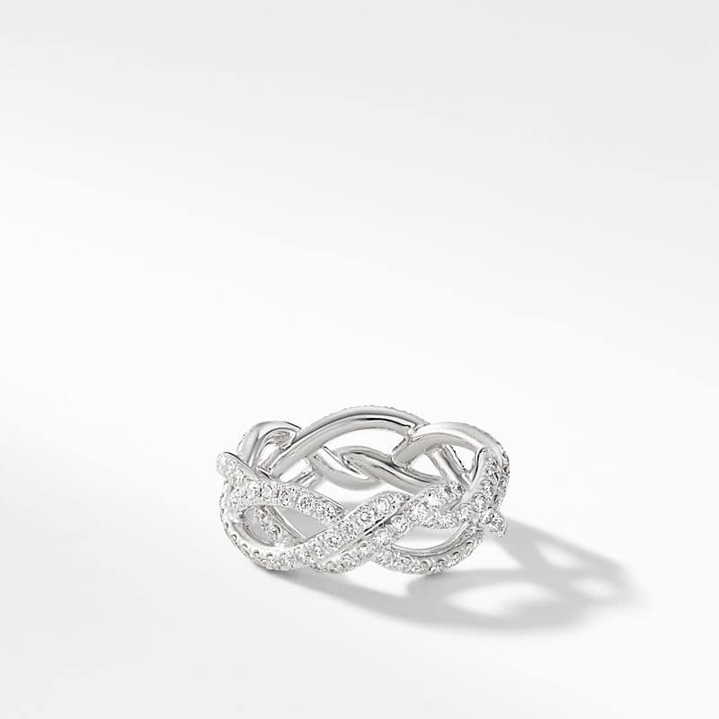 DY Wisteria Wedding Band with Diamonds in Platinum,