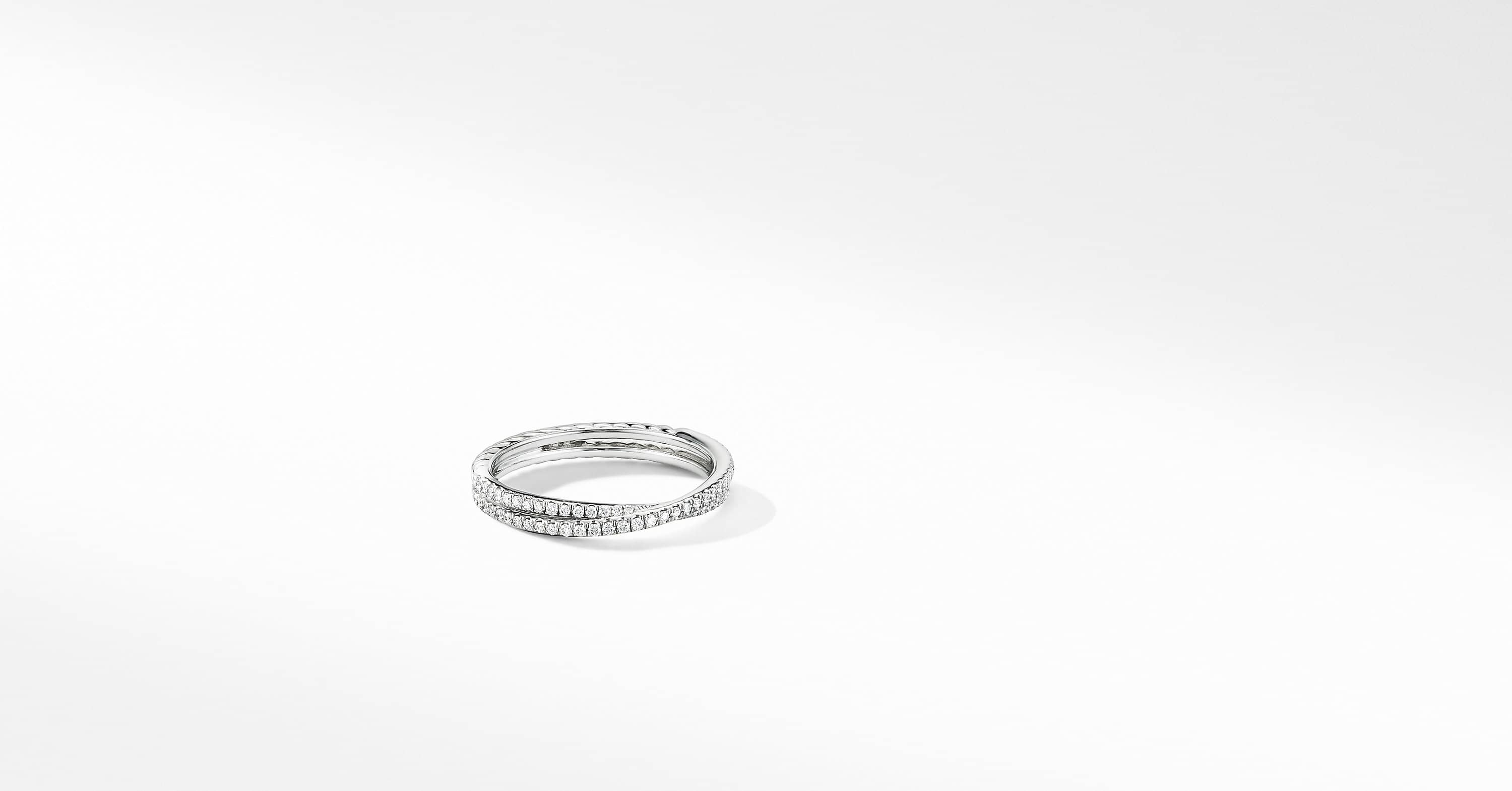 Micro Pavé DY Crossover Band Ring in Platinum