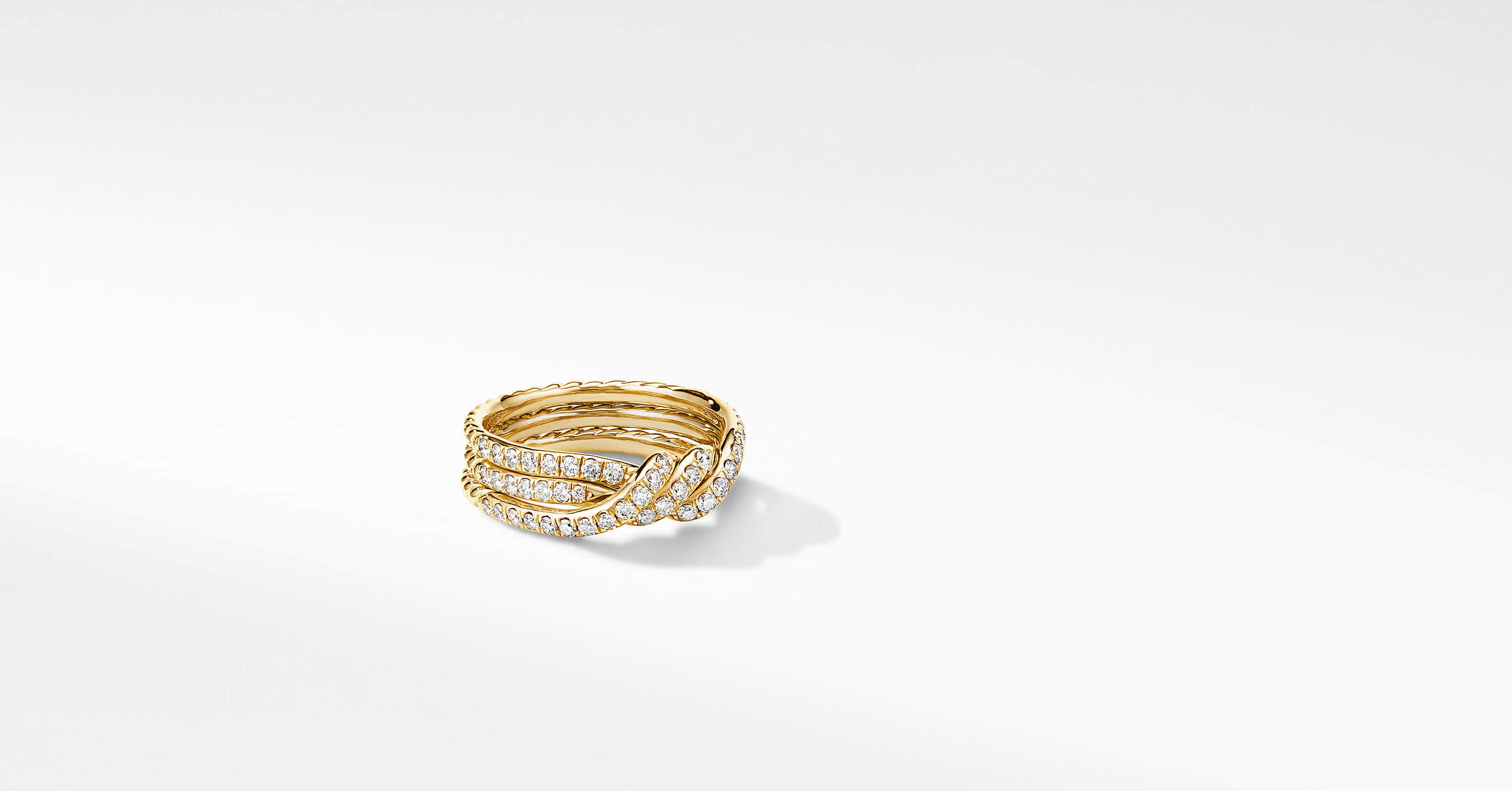 Continuance Three Row Wedding Band in 18K Yellow Gold with Diamonds
