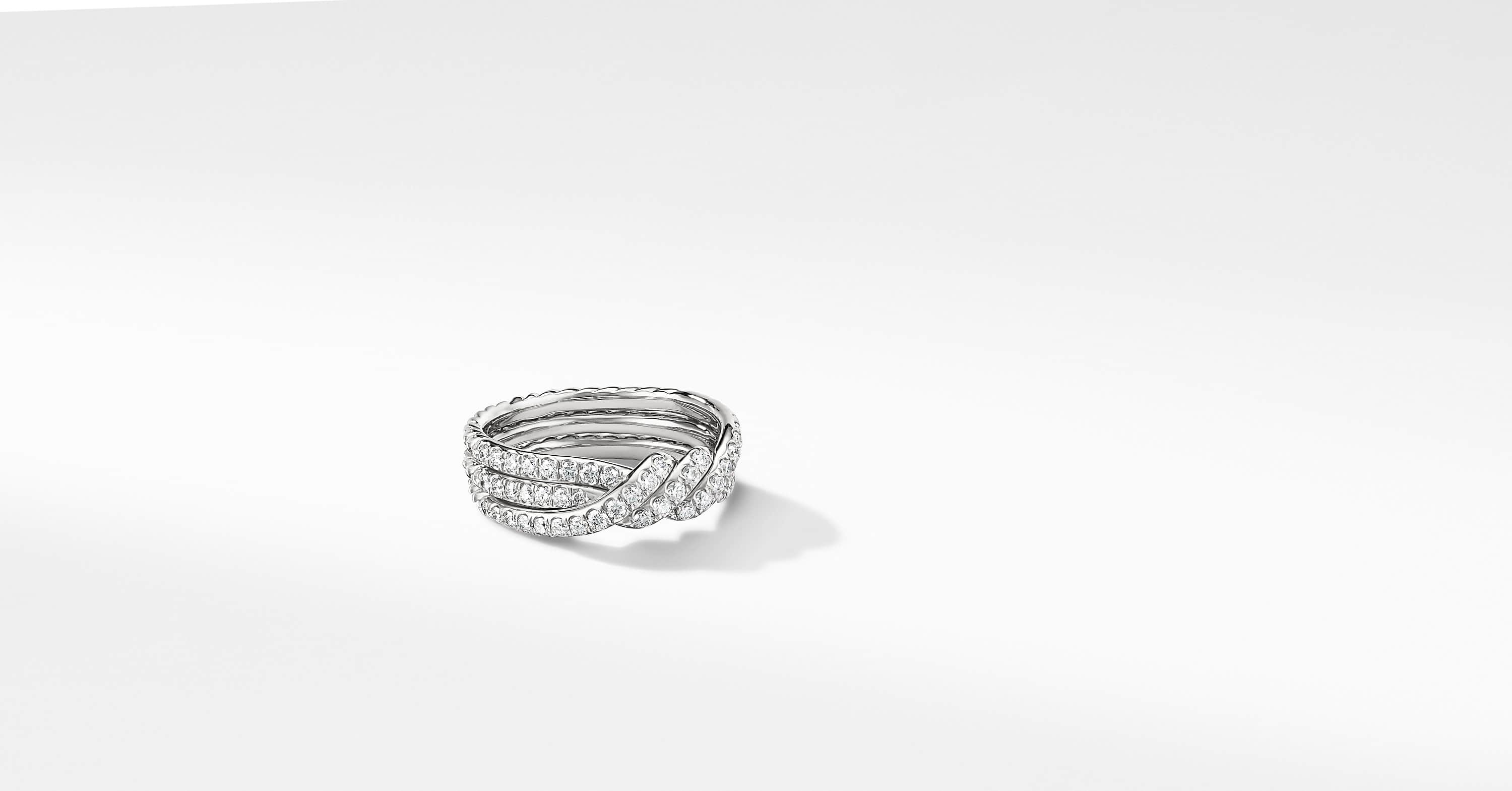 Continuance Three Row Wedding Band in Platinum with Diamonds