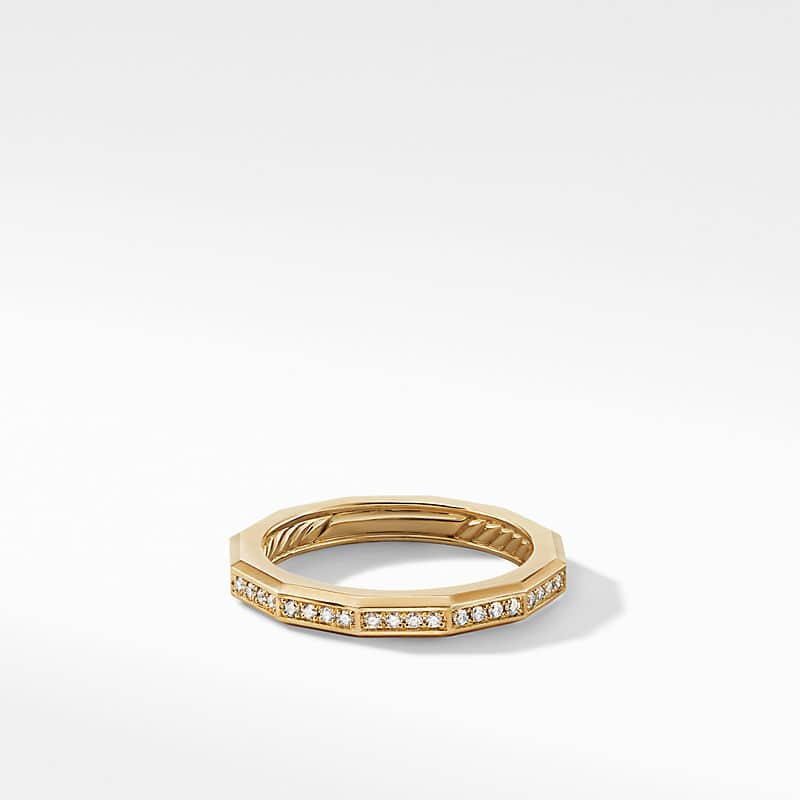 DY Delaunay Narrow Faceted Band Ring in 18K Yellow Gold with Diamonds, 2.5mm