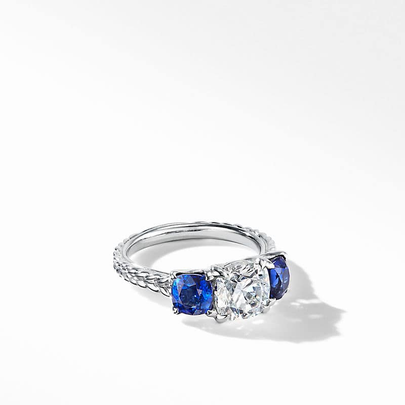 DY Three-Stone Engagement Ring in Platinum with Blue
