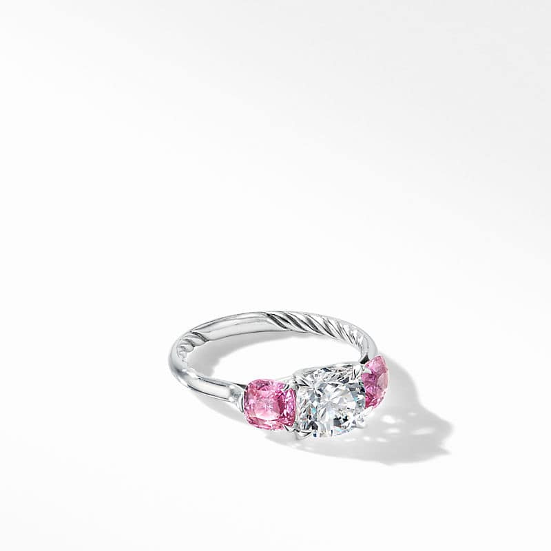 DY Three Stone Engagement Ring in Platinum with
