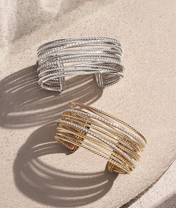 c966e5fe742b David Yurman The Crossover Collection® cuffs in sterling silver with pavé  diamonds or in 18K