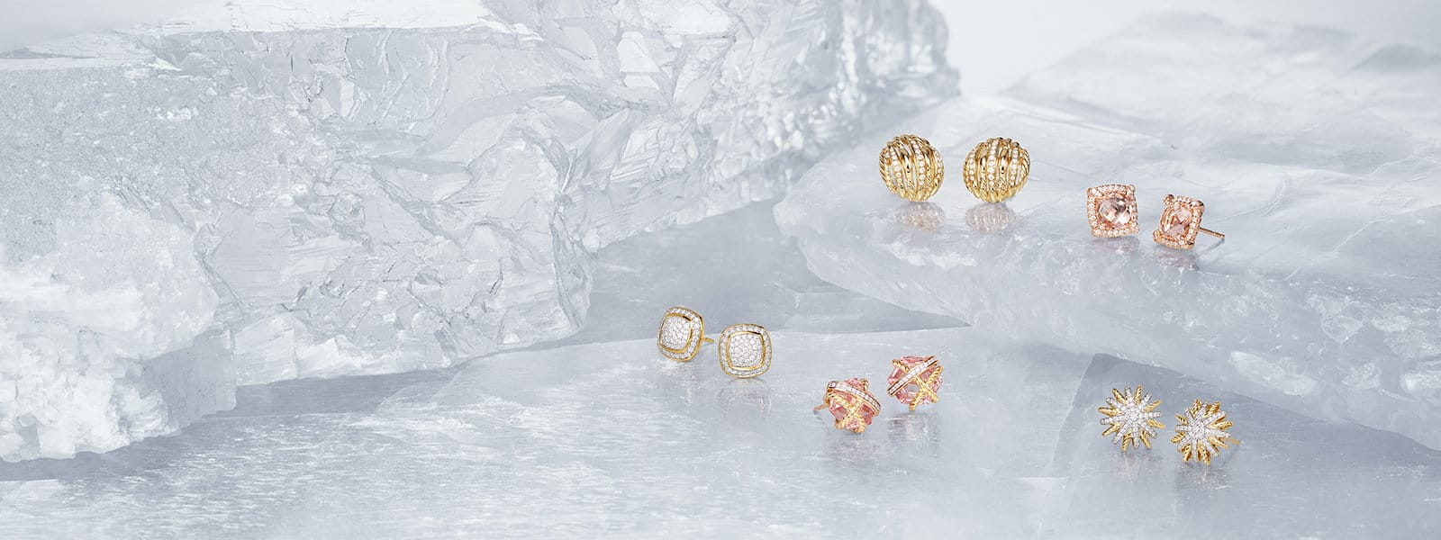 Tides, Châtelaine, Starburst, Cable Wrap and Albion stud earrings, in 18K yellow gold with pavé white diamonds and with or without morganite, on layers of ice.