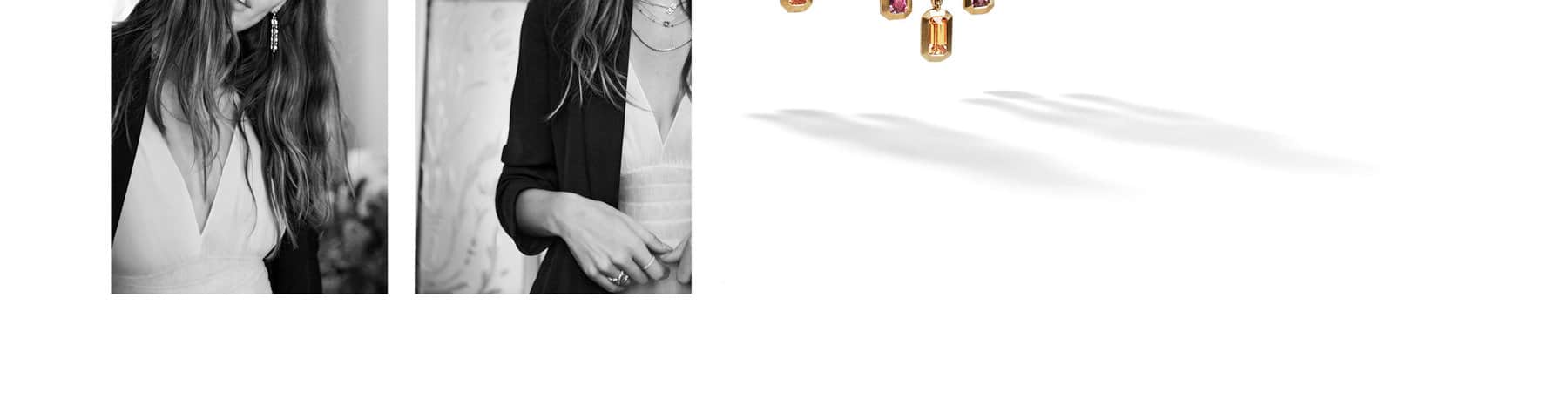 A pull quote by model Juliette Labelle is placed to the right of two black-and-white photos of her wearing a dress and a black jacket with David Yurman jewelry.