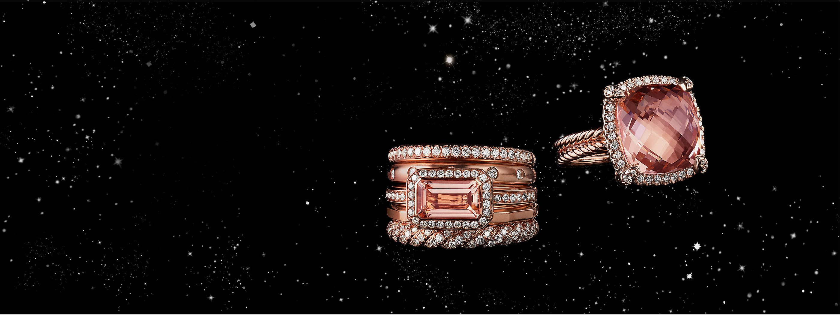 A color photograph shows a David Yurman Stax five-row ring and a Châtelaine ring floating in front of a starry night sky. The women's rings are crafted from 18K rose gold with pavé diamonds surrounding morganite center stones.