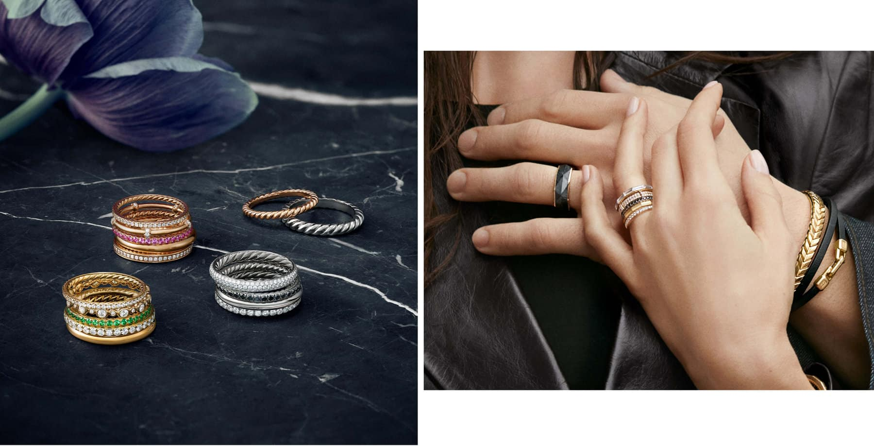 A image features a male and female model wearing David Yurman jewelry, including wedding bands.