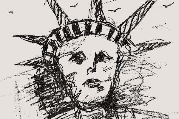 "A black-and-white sketch of the head of the Statue of Liberty, surrounded by birds and signed ""David Yurman 2020,"" is shown on the right side of the page against a beige banner."